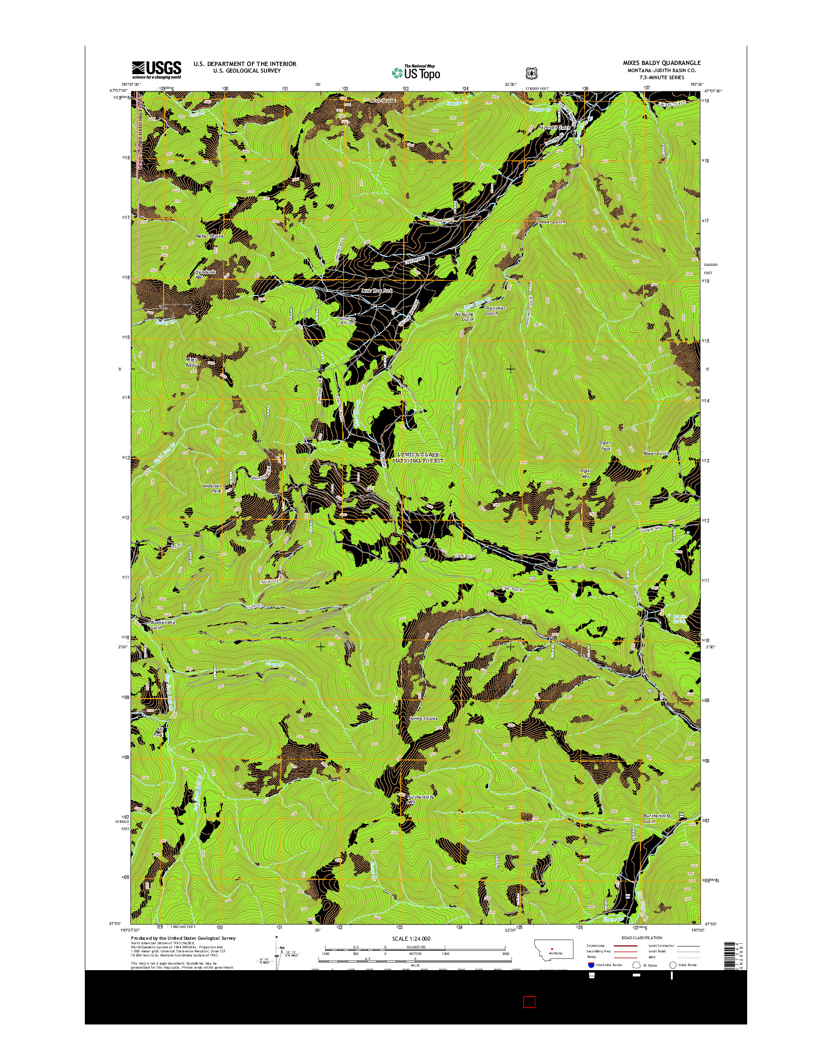 USGS US TOPO 7.5-MINUTE MAP FOR MIXES BALDY, MT 2014