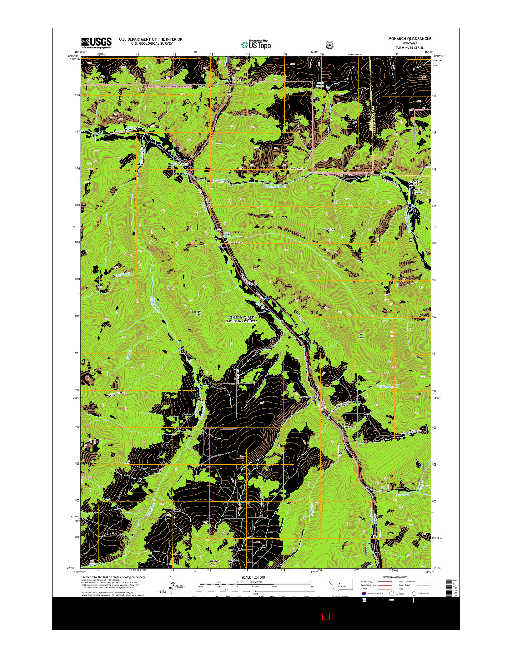 USGS US TOPO 7.5-MINUTE MAP FOR MONARCH, MT 2014