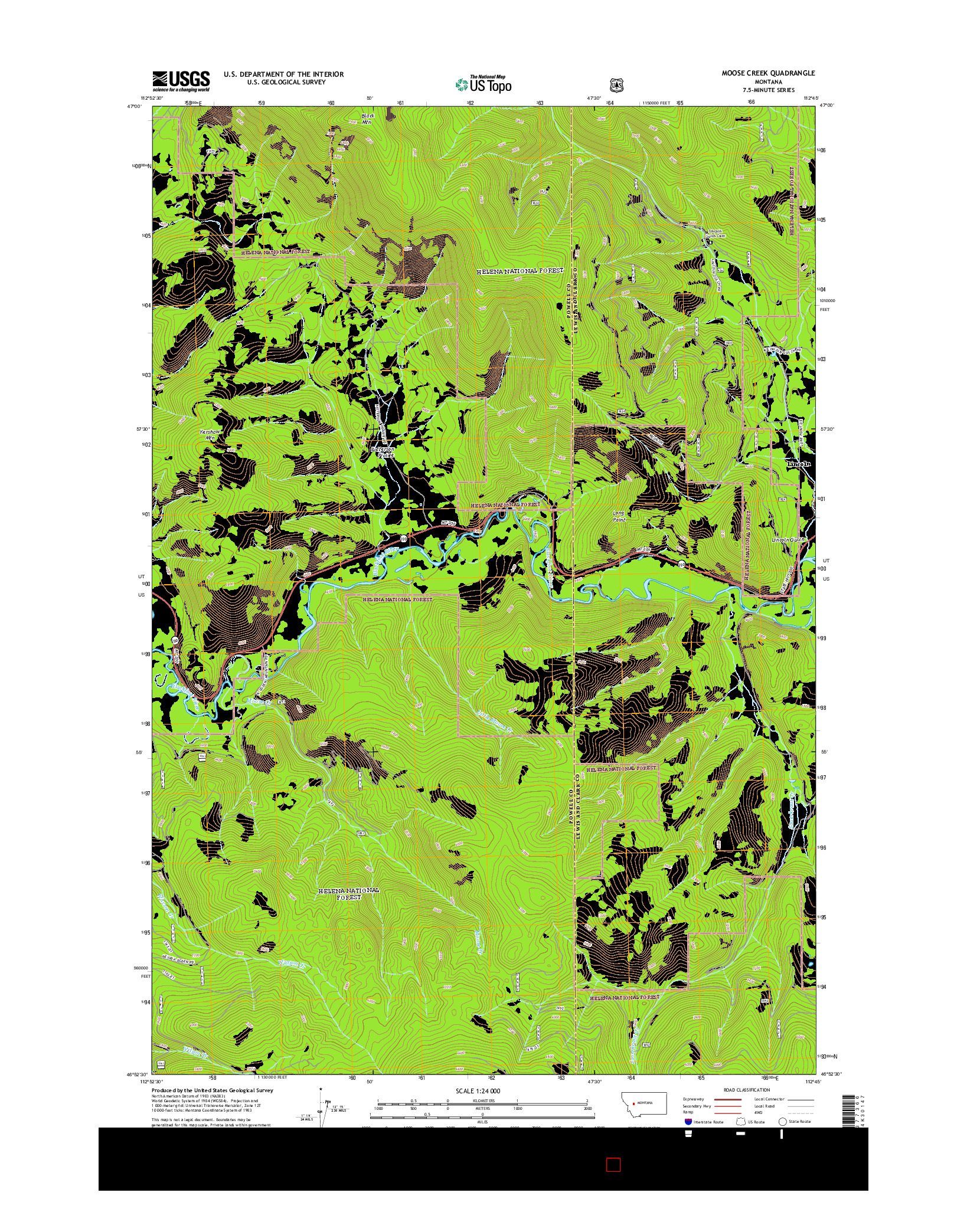 USGS US TOPO 7.5-MINUTE MAP FOR MOOSE CREEK, MT 2014
