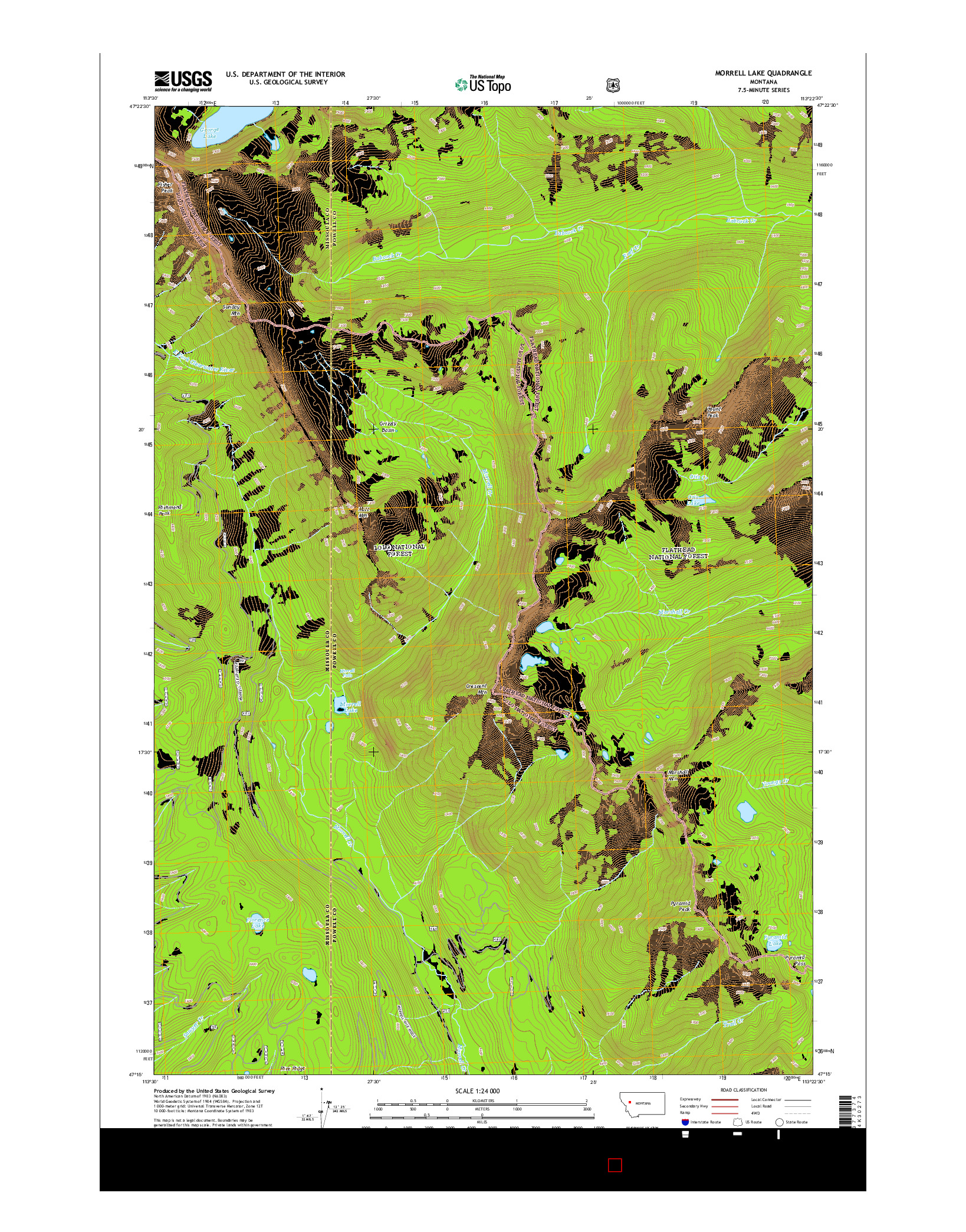USGS US TOPO 7.5-MINUTE MAP FOR MORRELL LAKE, MT 2014