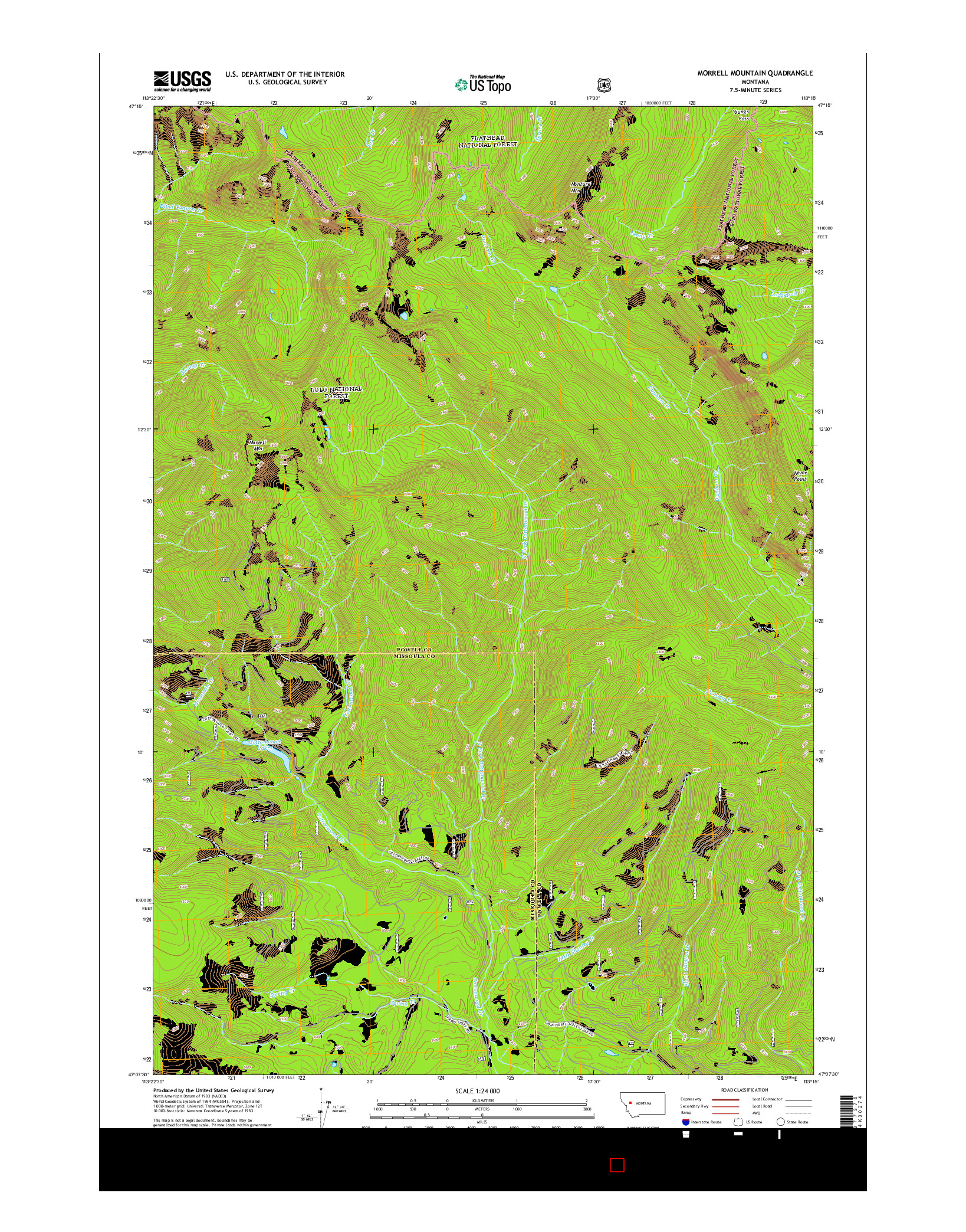 USGS US TOPO 7.5-MINUTE MAP FOR MORRELL MOUNTAIN, MT 2014