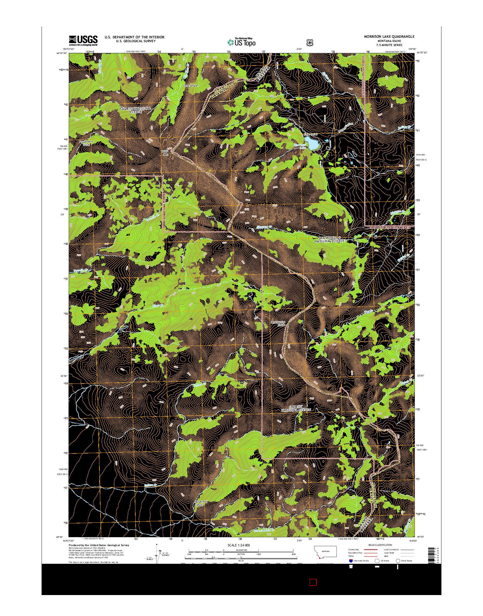USGS US TOPO 7.5-MINUTE MAP FOR MORRISON LAKE, MT-ID 2014
