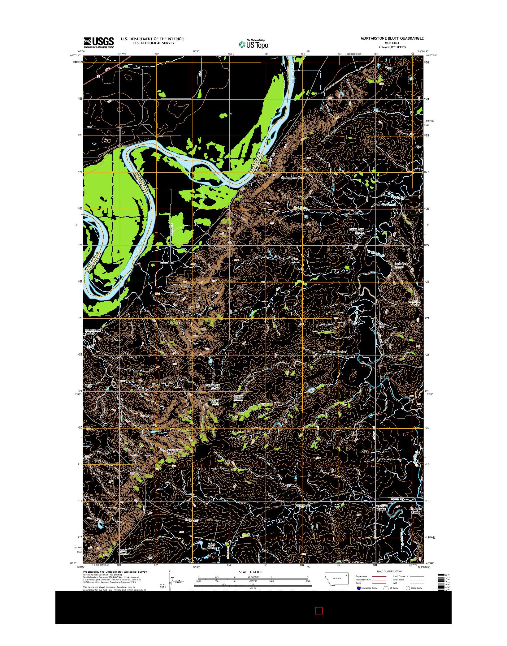 USGS US TOPO 7.5-MINUTE MAP FOR MORTARSTONE BLUFF, MT 2014