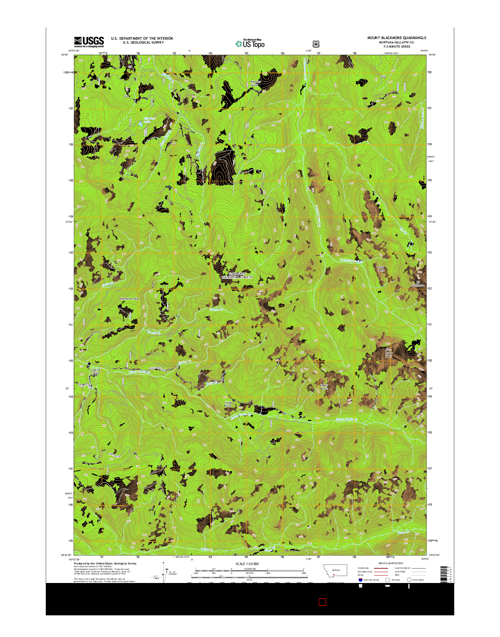 USGS US TOPO 7.5-MINUTE MAP FOR MOUNT BLACKMORE, MT 2014