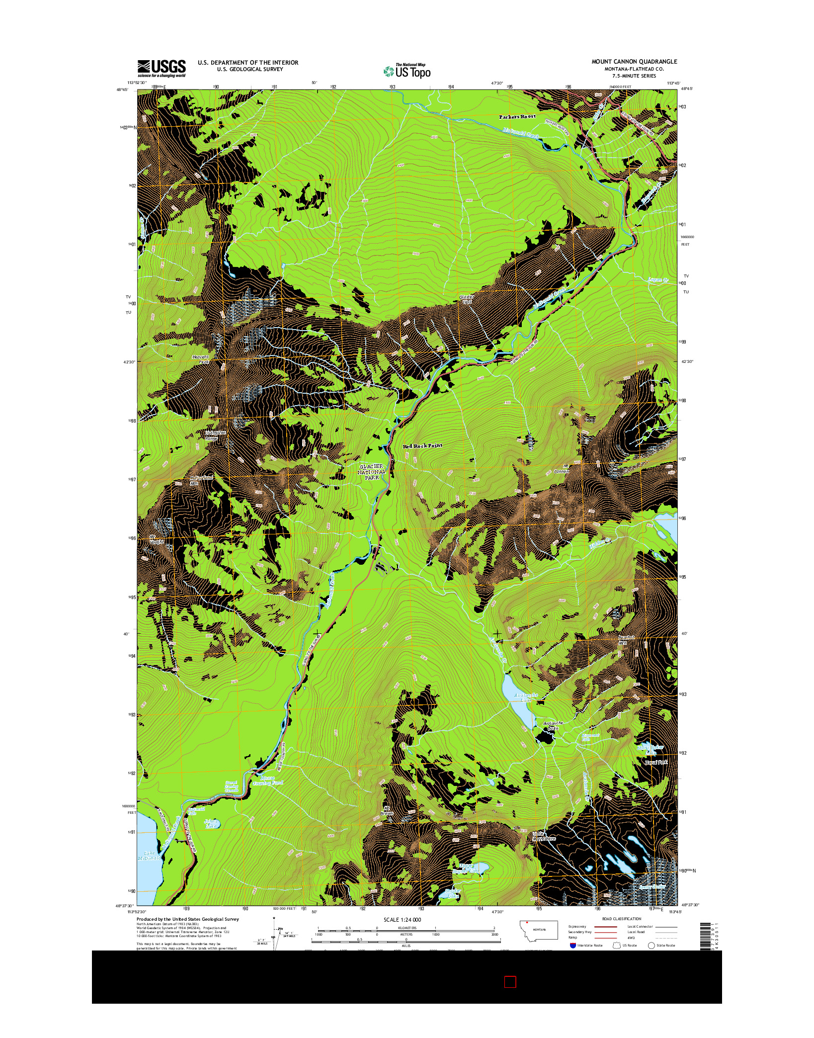 USGS US TOPO 7.5-MINUTE MAP FOR MOUNT CANNON, MT 2014
