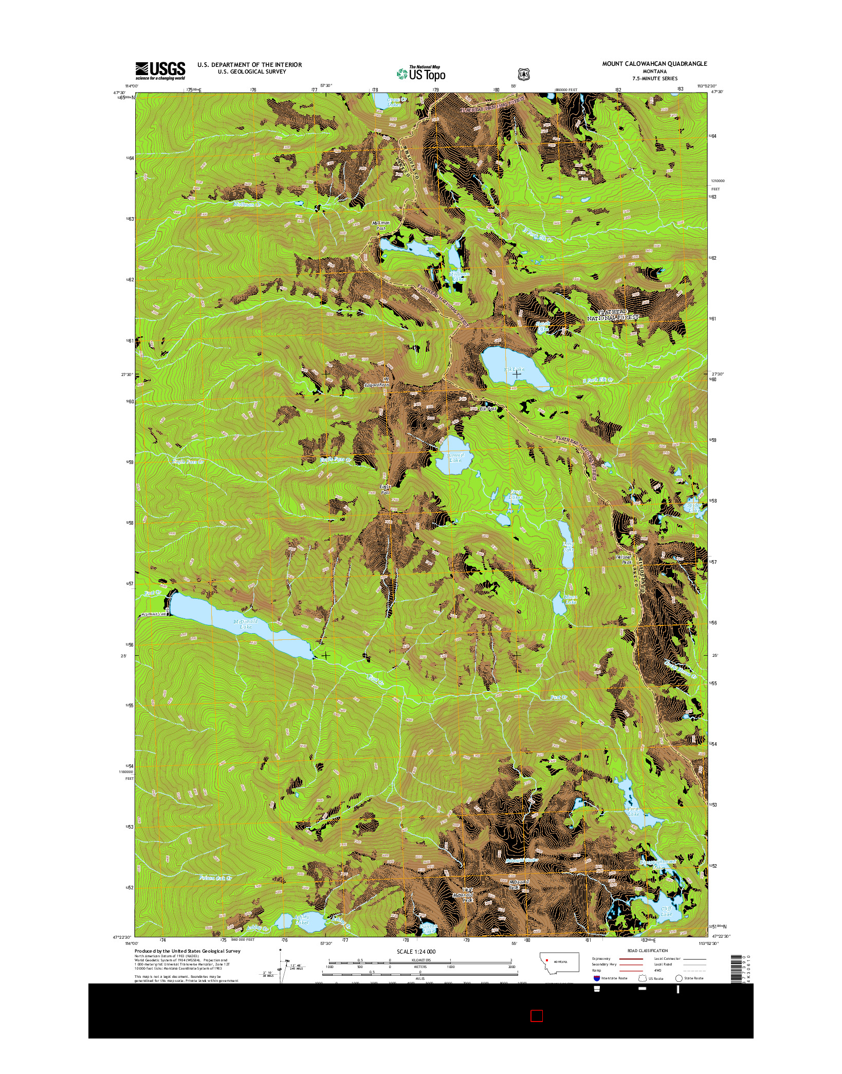 USGS US TOPO 7.5-MINUTE MAP FOR MOUNT CALOWAHCAN, MT 2014