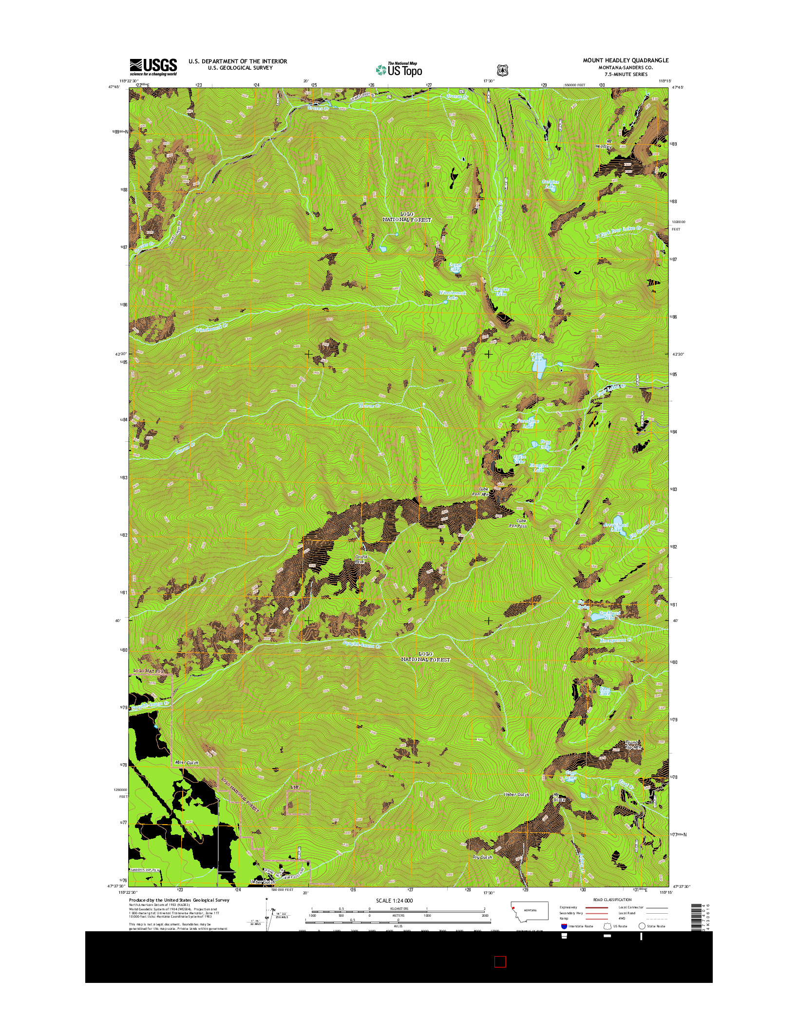 USGS US TOPO 7.5-MINUTE MAP FOR MOUNT HEADLEY, MT 2014