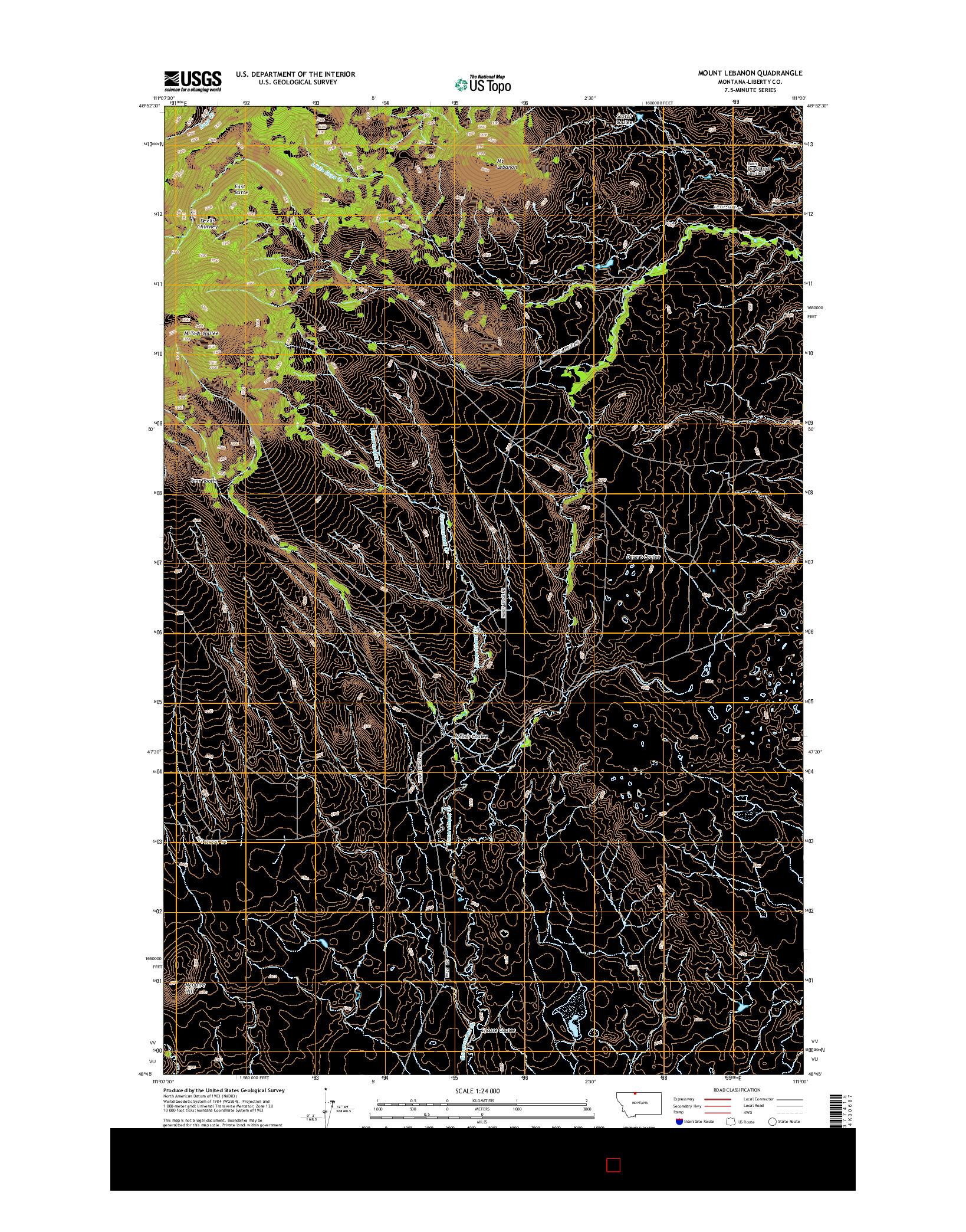 USGS US TOPO 7.5-MINUTE MAP FOR MOUNT LEBANON, MT 2014