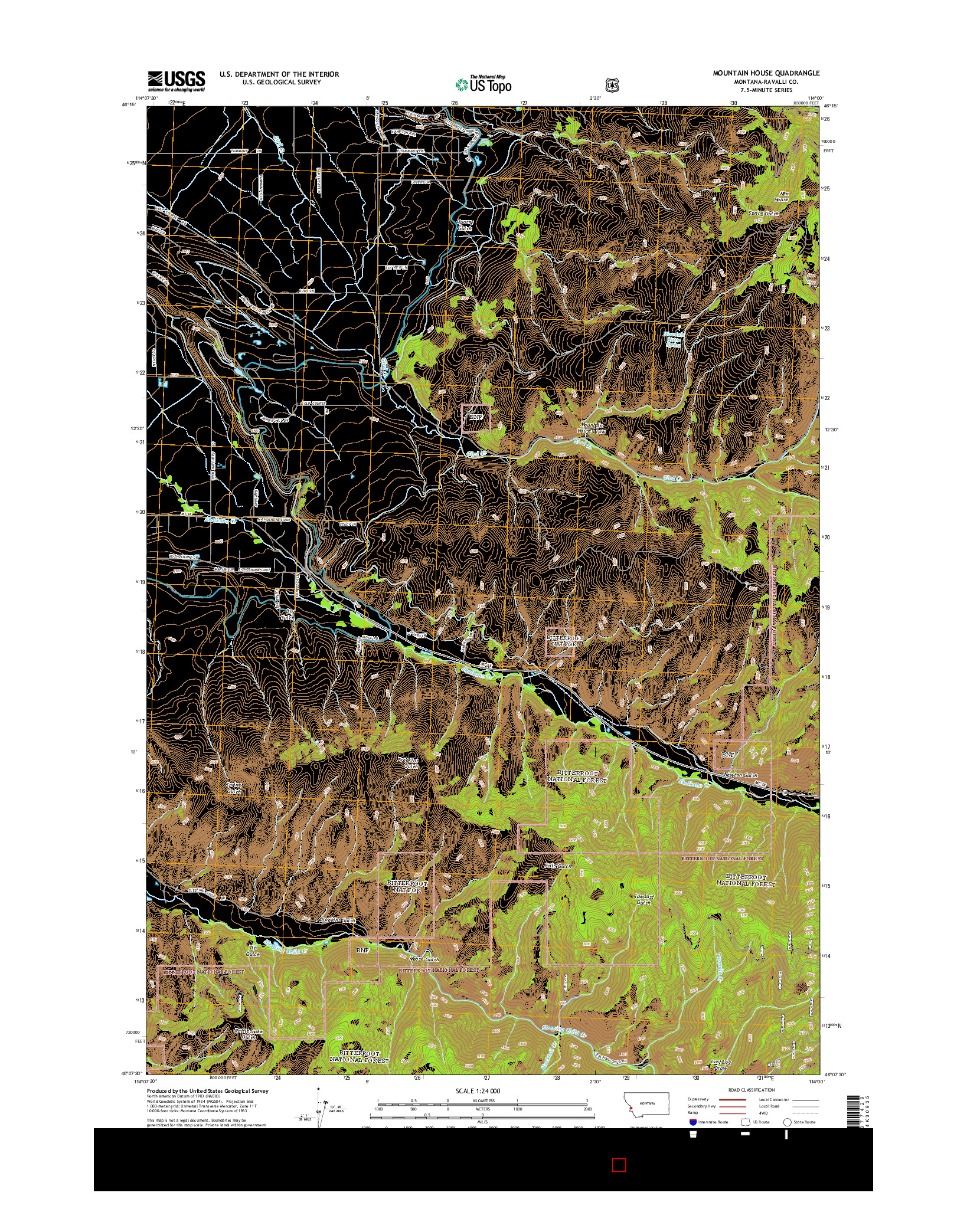 USGS US TOPO 7.5-MINUTE MAP FOR MOUNTAIN HOUSE, MT 2014