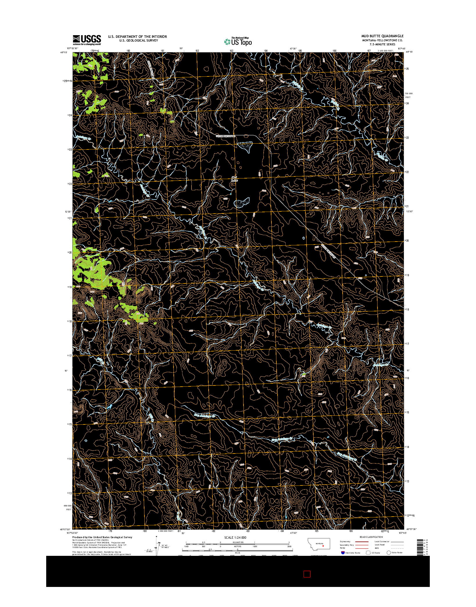 USGS US TOPO 7.5-MINUTE MAP FOR MUD BUTTE, MT 2014
