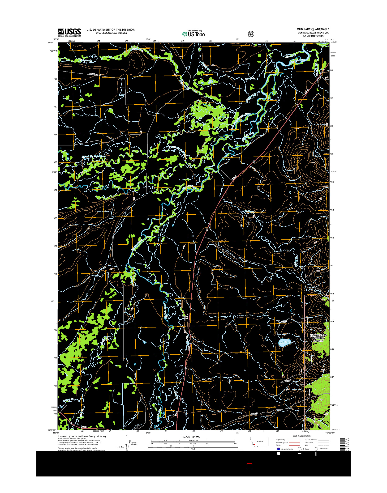 USGS US TOPO 7.5-MINUTE MAP FOR MUD LAKE, MT 2014