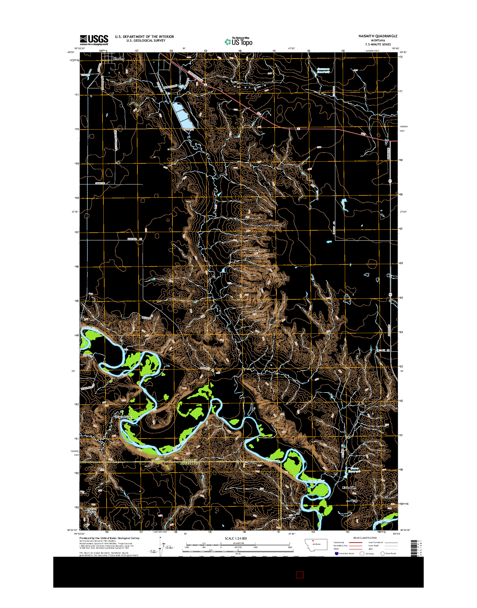 USGS US TOPO 7.5-MINUTE MAP FOR NAISMITH, MT 2014