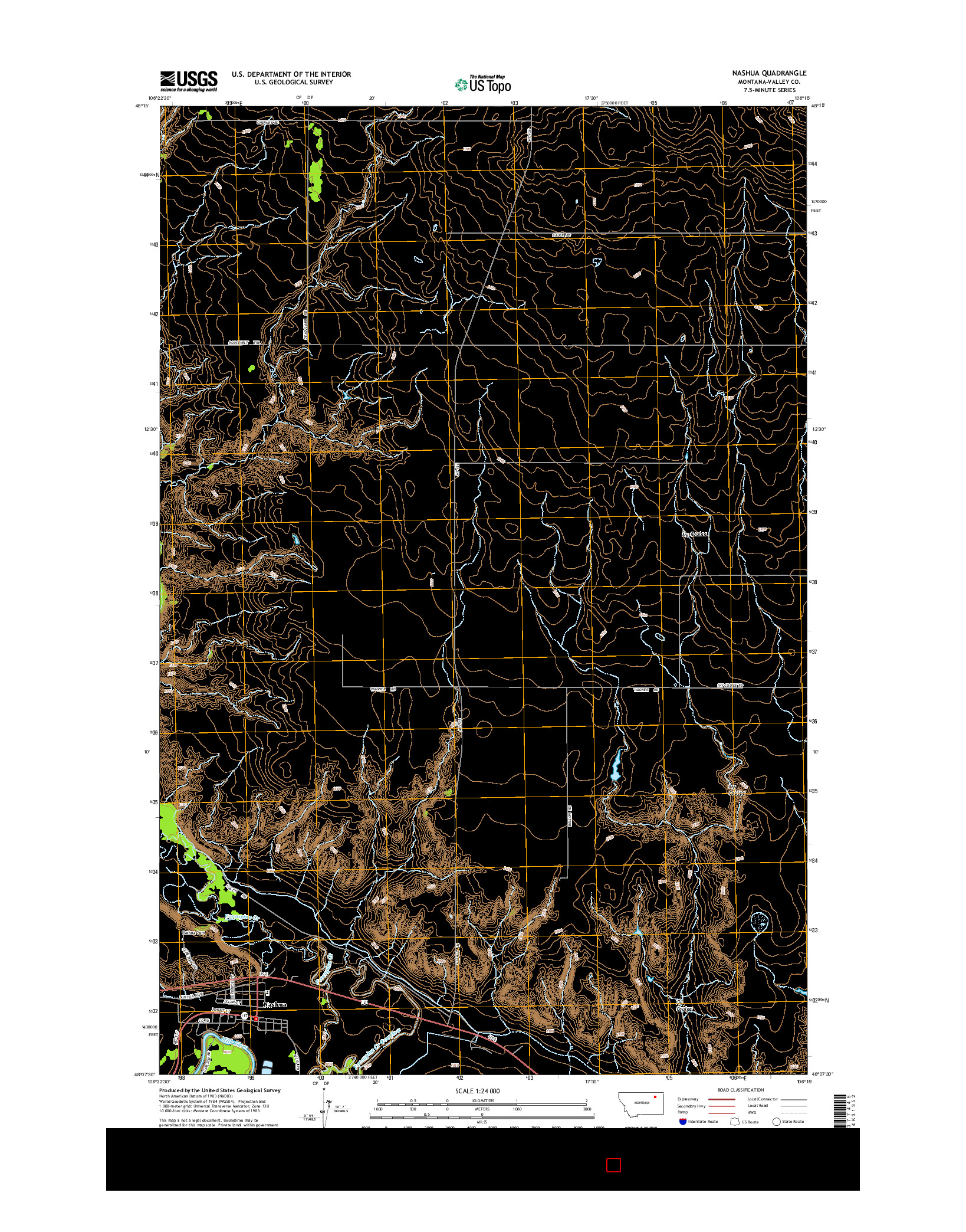 USGS US TOPO 7.5-MINUTE MAP FOR NASHUA, MT 2014