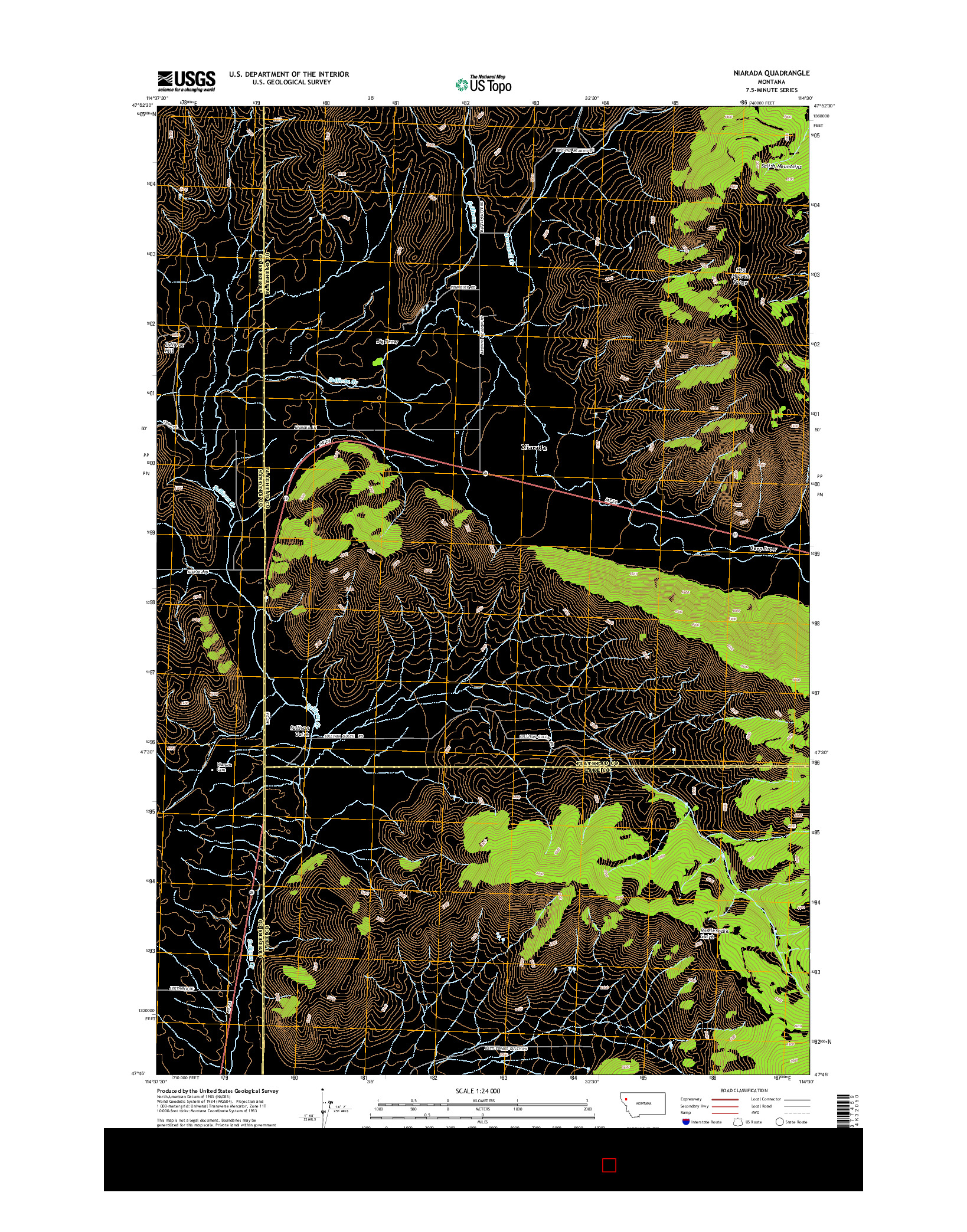 USGS US TOPO 7.5-MINUTE MAP FOR NIARADA, MT 2014