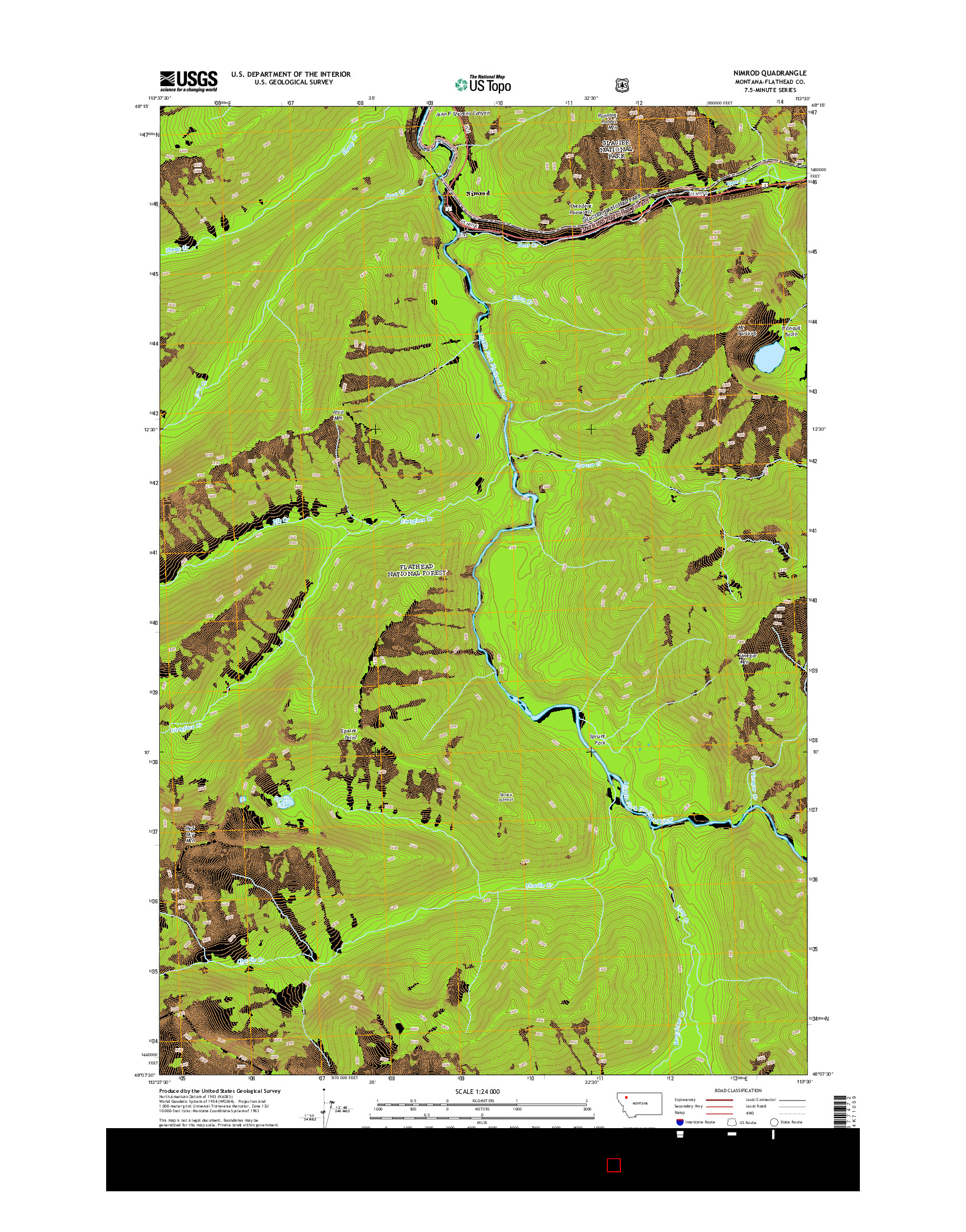 USGS US TOPO 7.5-MINUTE MAP FOR NIMROD, MT 2014