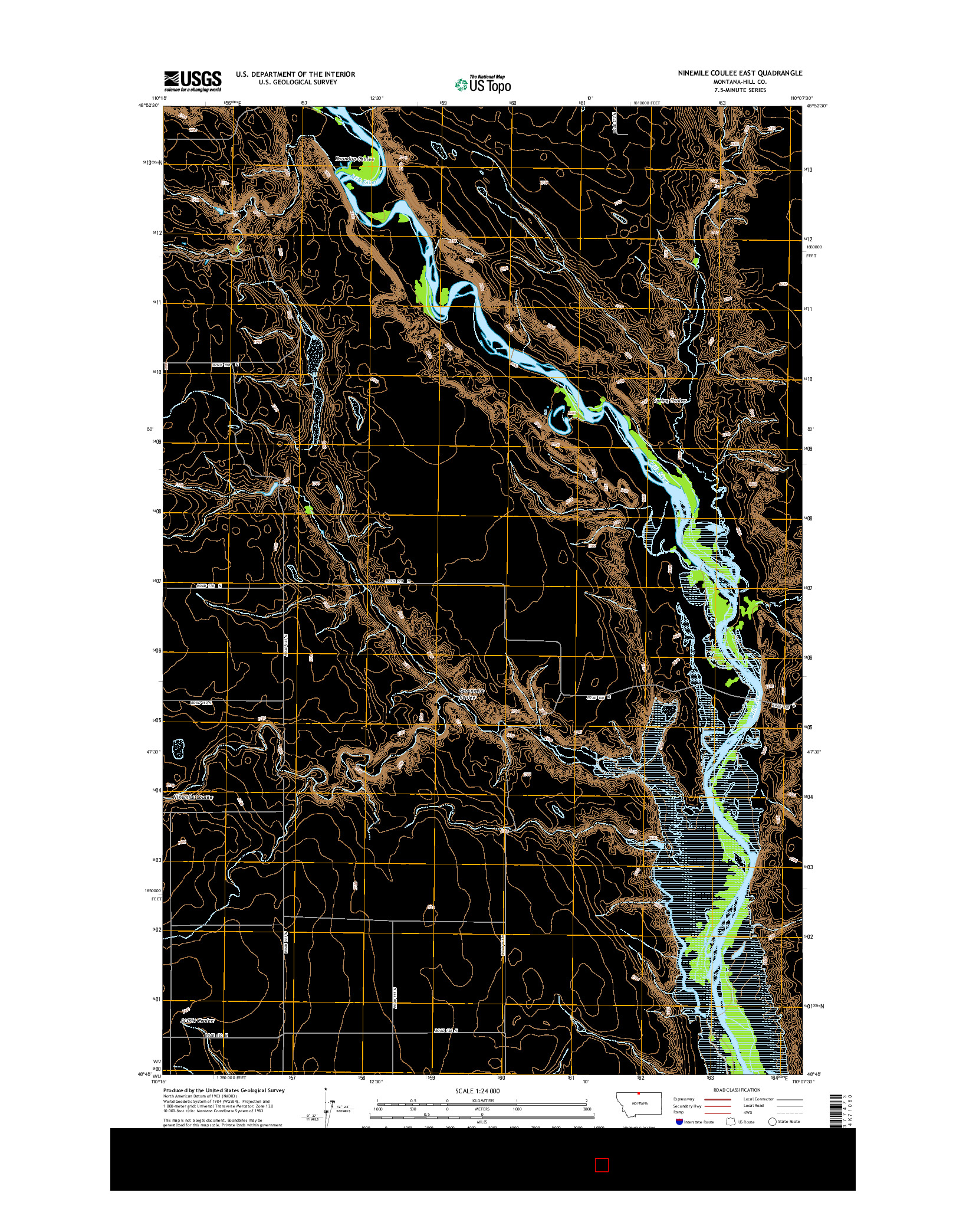USGS US TOPO 7.5-MINUTE MAP FOR NINEMILE COULEE EAST, MT 2014