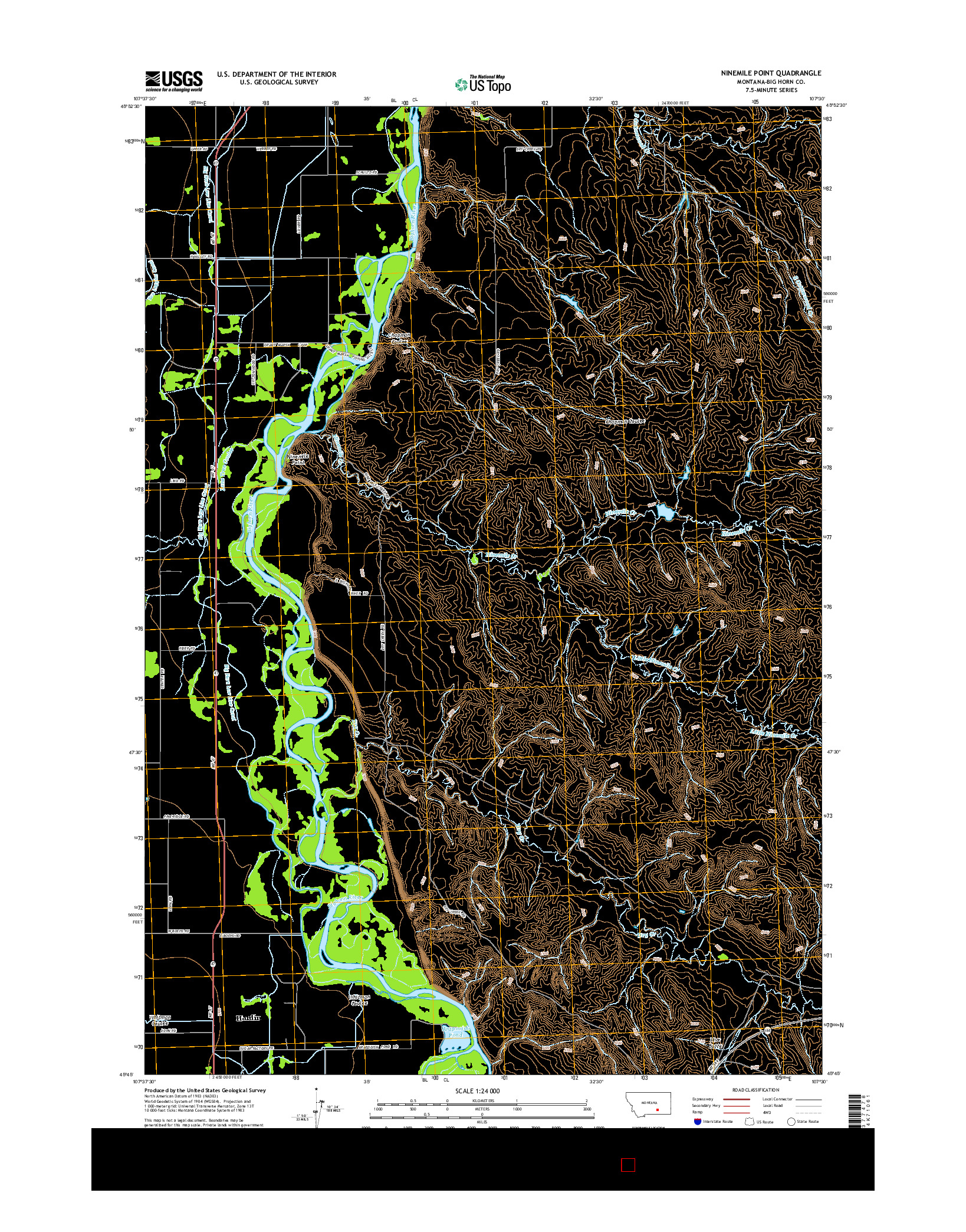 USGS US TOPO 7.5-MINUTE MAP FOR NINEMILE POINT, MT 2014