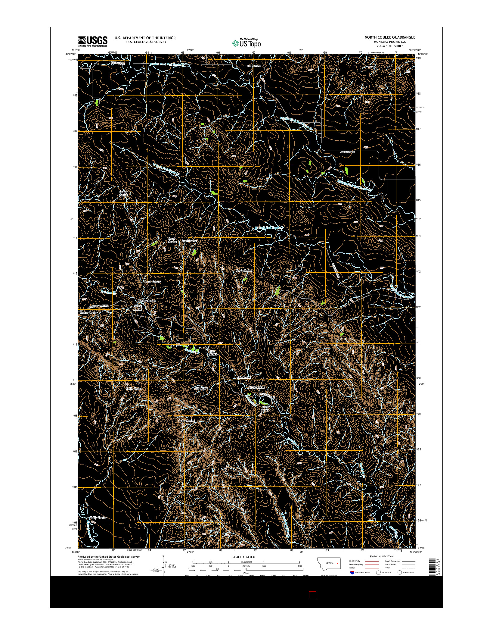 USGS US TOPO 7.5-MINUTE MAP FOR NORTH COULEE, MT 2014