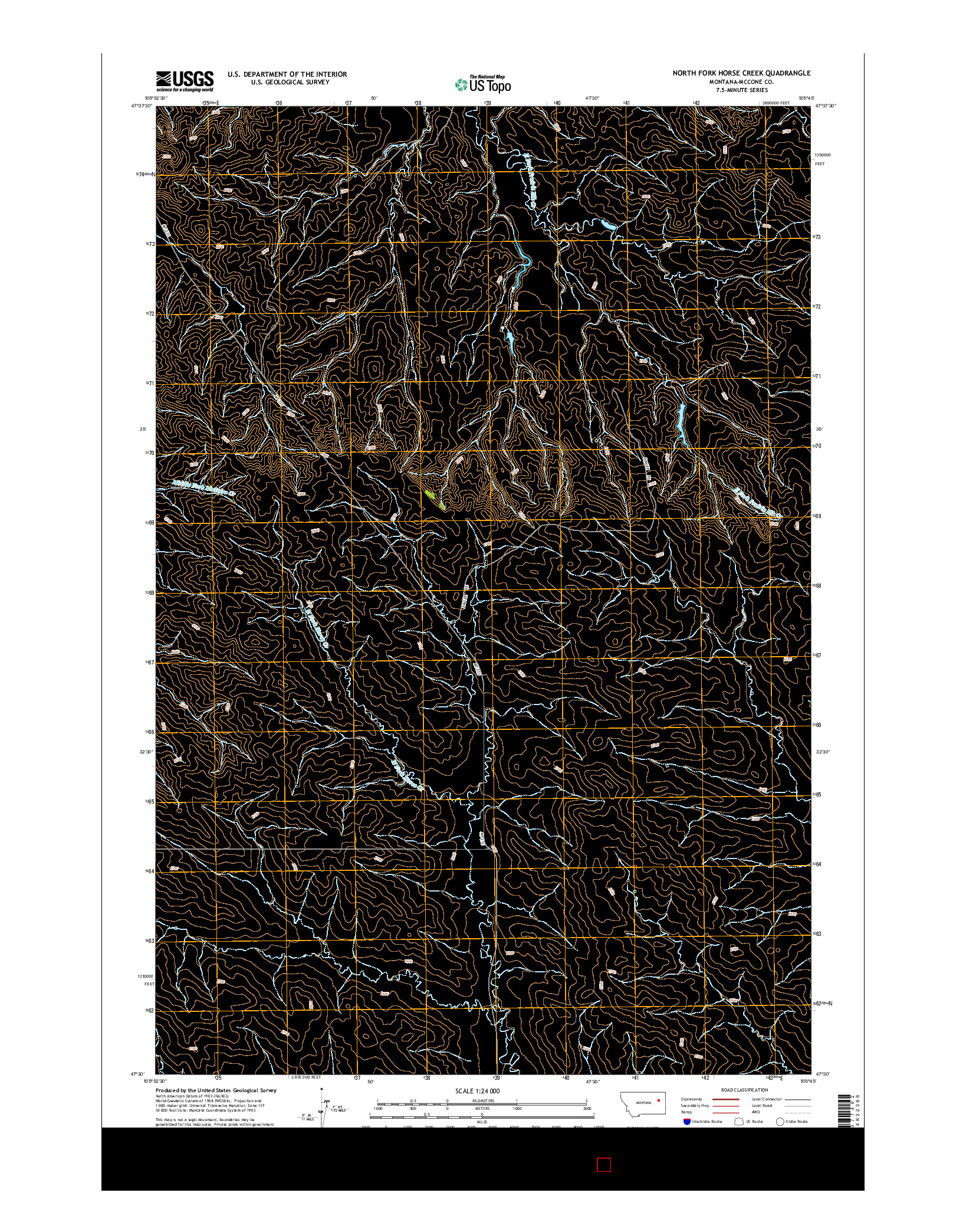 USGS US TOPO 7.5-MINUTE MAP FOR NORTH FORK HORSE CREEK, MT 2014