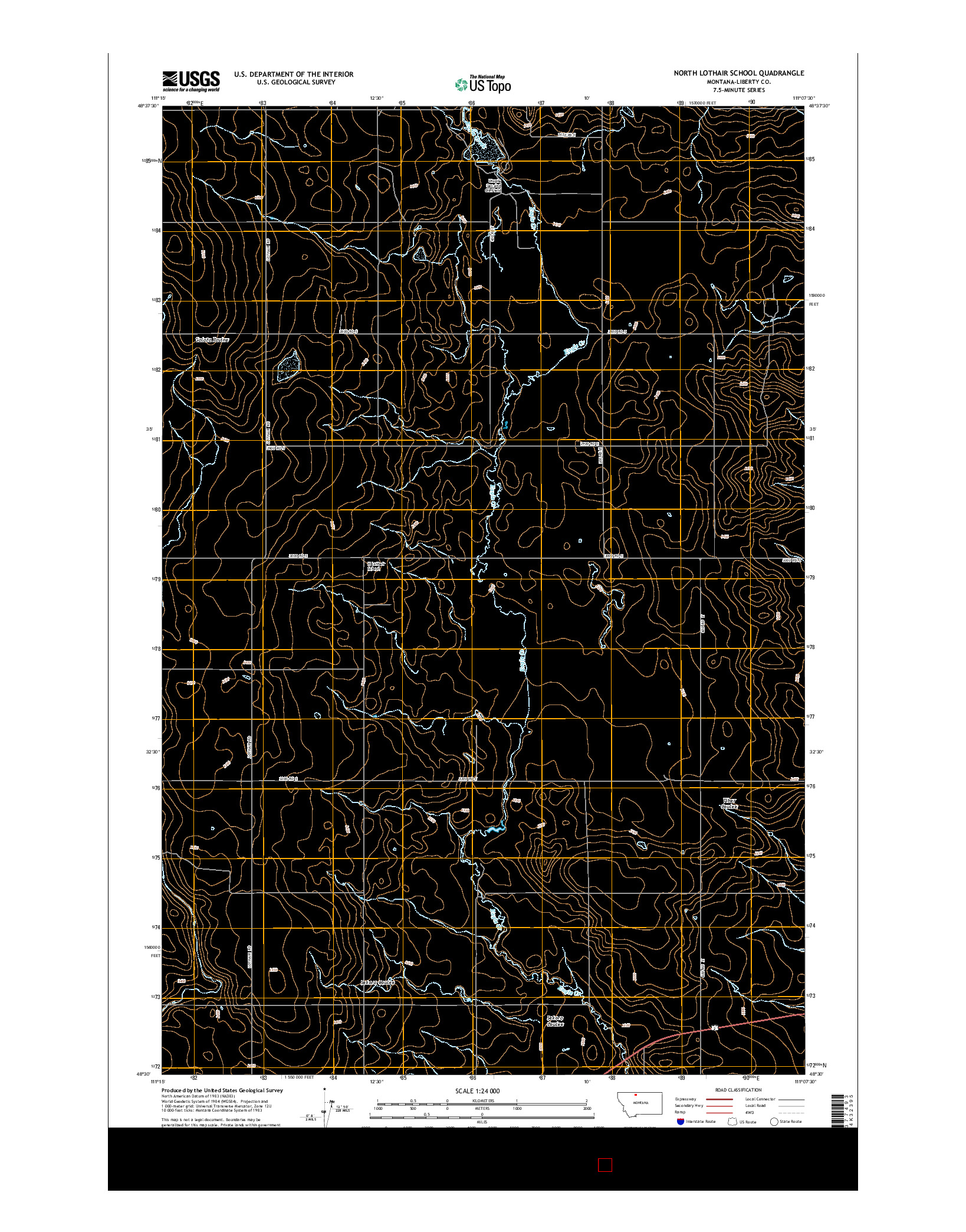 USGS US TOPO 7.5-MINUTE MAP FOR NORTH LOTHAIR SCHOOL, MT 2014