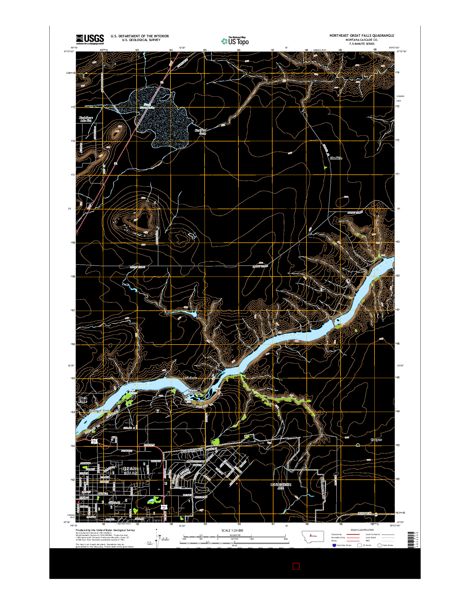 USGS US TOPO 7.5-MINUTE MAP FOR NORTHEAST GREAT FALLS, MT 2014