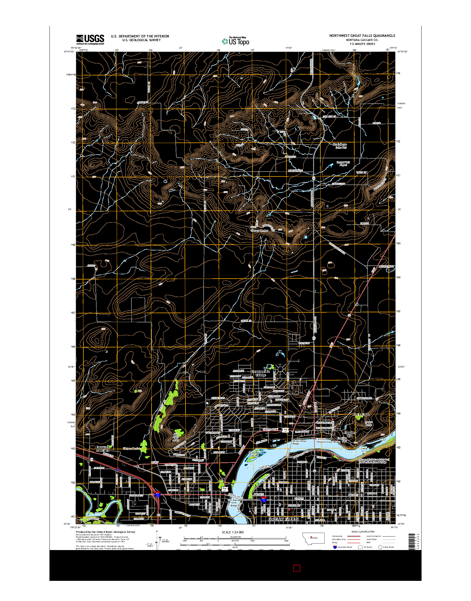 USGS US TOPO 7.5-MINUTE MAP FOR NORTHWEST GREAT FALLS, MT 2014
