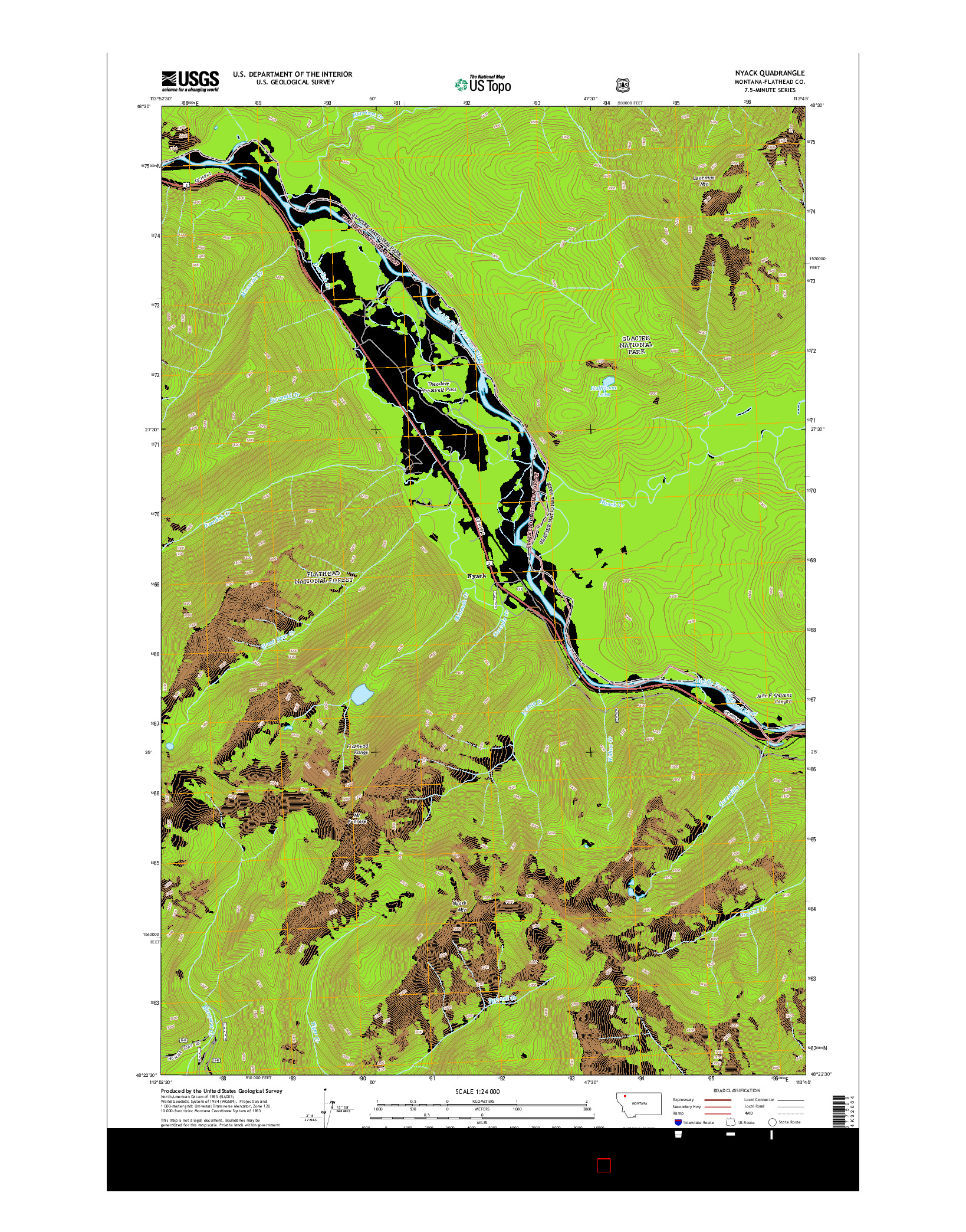 USGS US TOPO 7.5-MINUTE MAP FOR NYACK, MT 2014