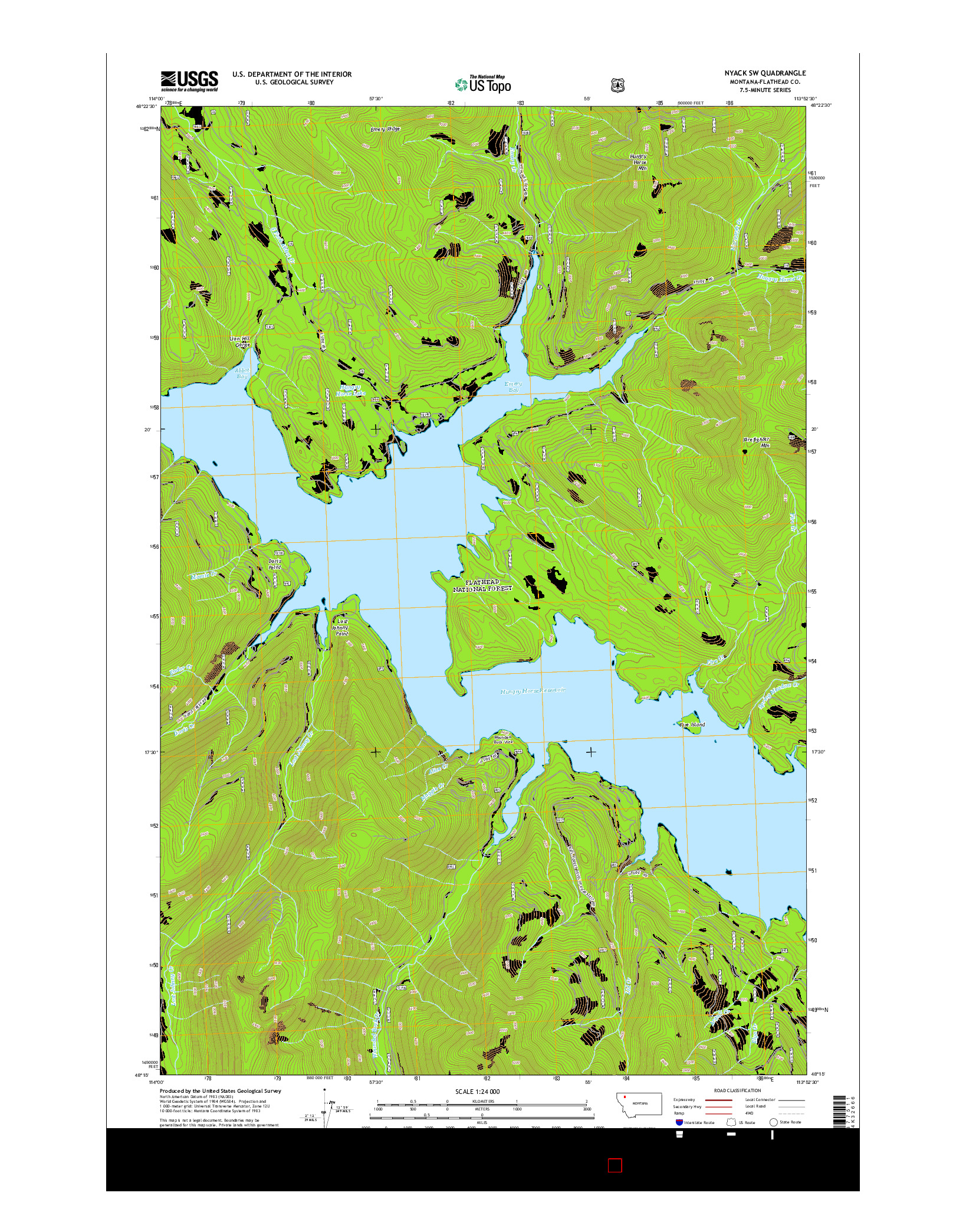 USGS US TOPO 7.5-MINUTE MAP FOR NYACK SW, MT 2014