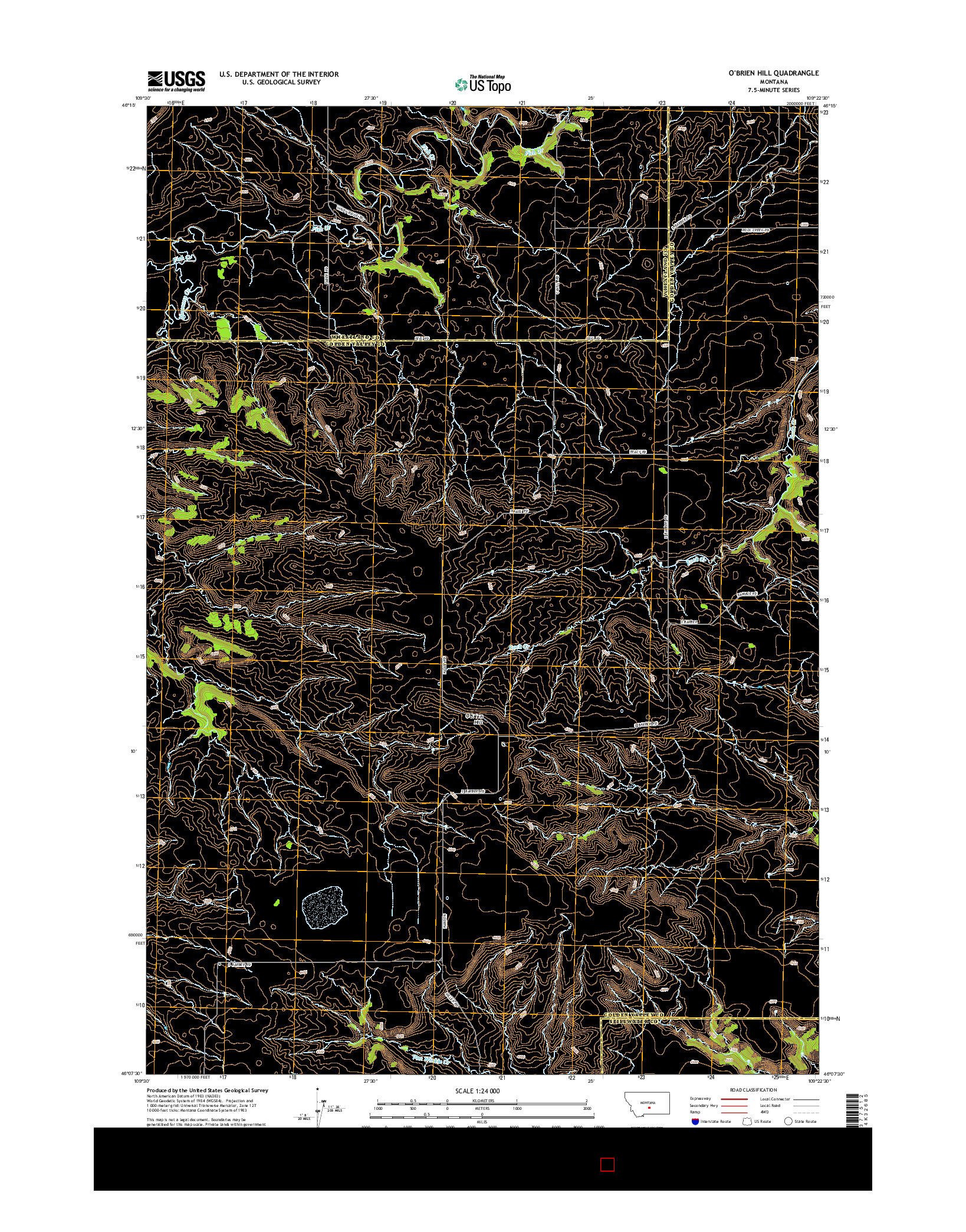 USGS US TOPO 7.5-MINUTE MAP FOR O'BRIEN HILL, MT 2014