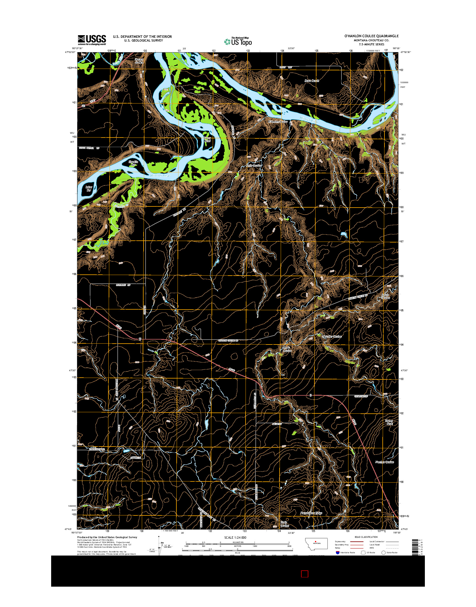 USGS US TOPO 7.5-MINUTE MAP FOR O'HANLON COULEE, MT 2014