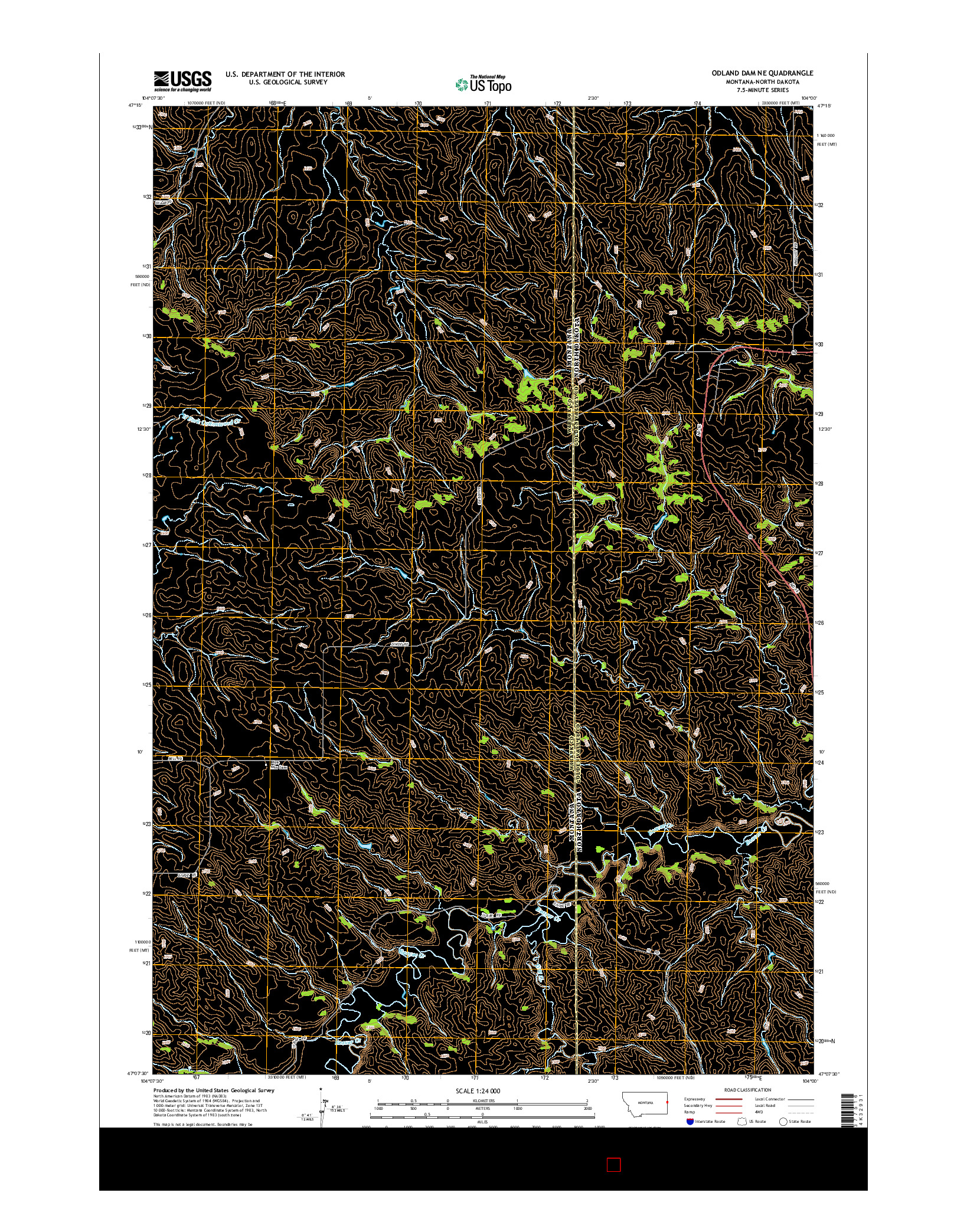 USGS US TOPO 7.5-MINUTE MAP FOR ODLAND DAM NE, MT-ND 2014