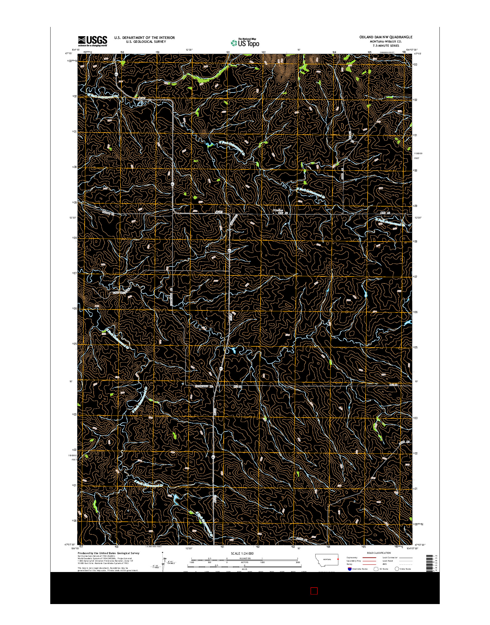 USGS US TOPO 7.5-MINUTE MAP FOR ODLAND DAM NW, MT 2014