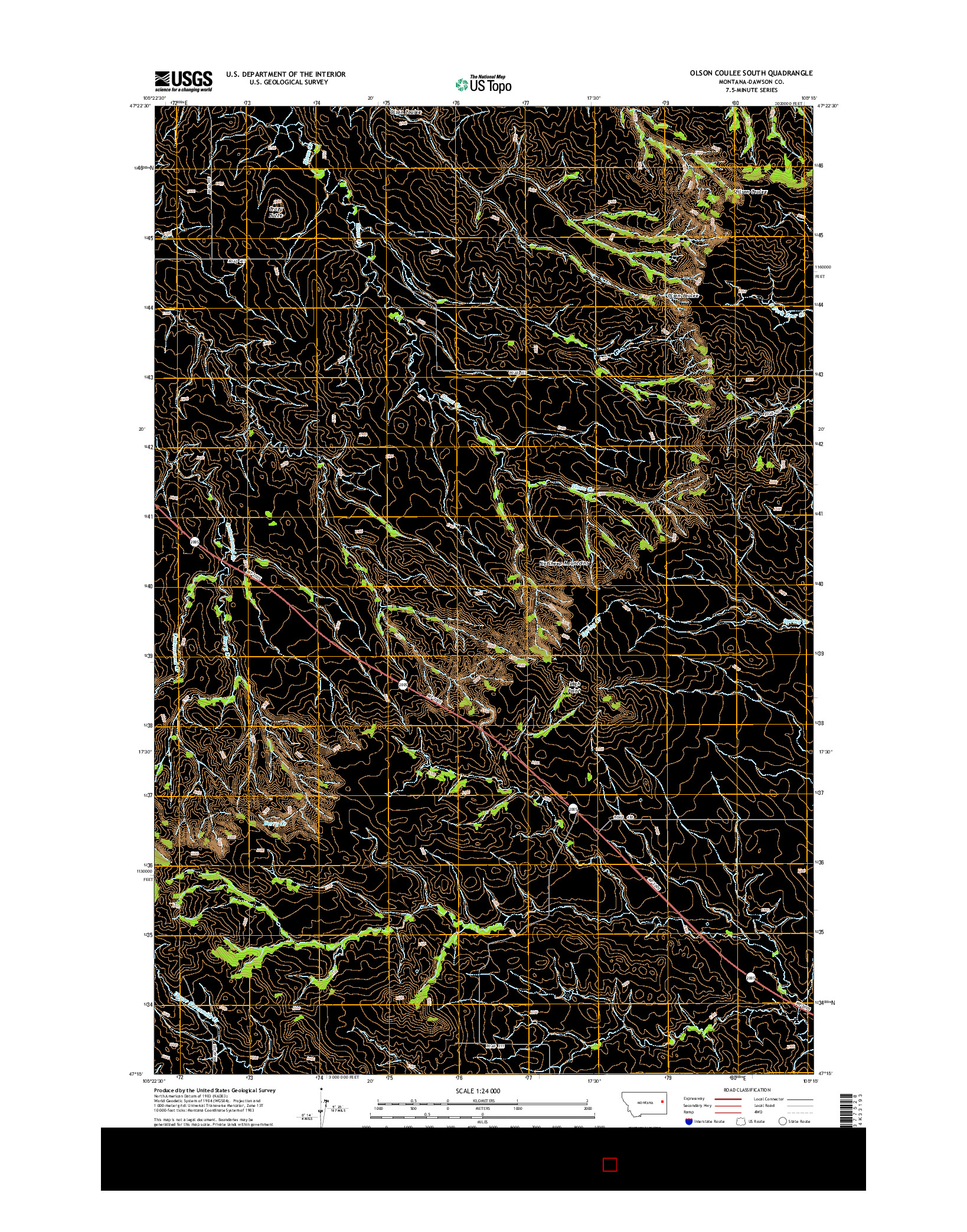 USGS US TOPO 7.5-MINUTE MAP FOR OLSON COULEE SOUTH, MT 2014
