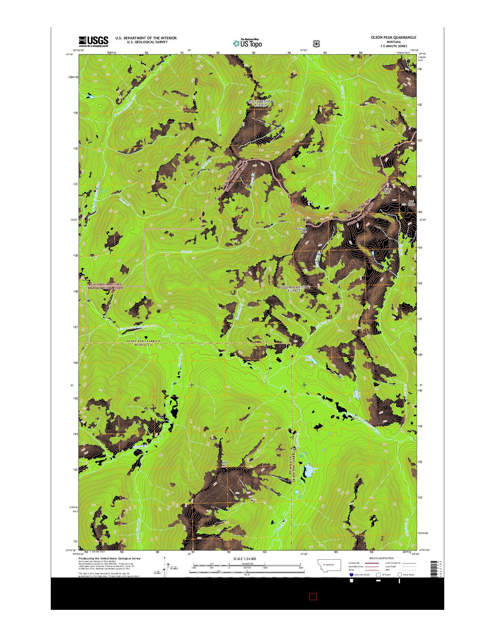 USGS US TOPO 7.5-MINUTE MAP FOR OLSON PEAK, MT 2014