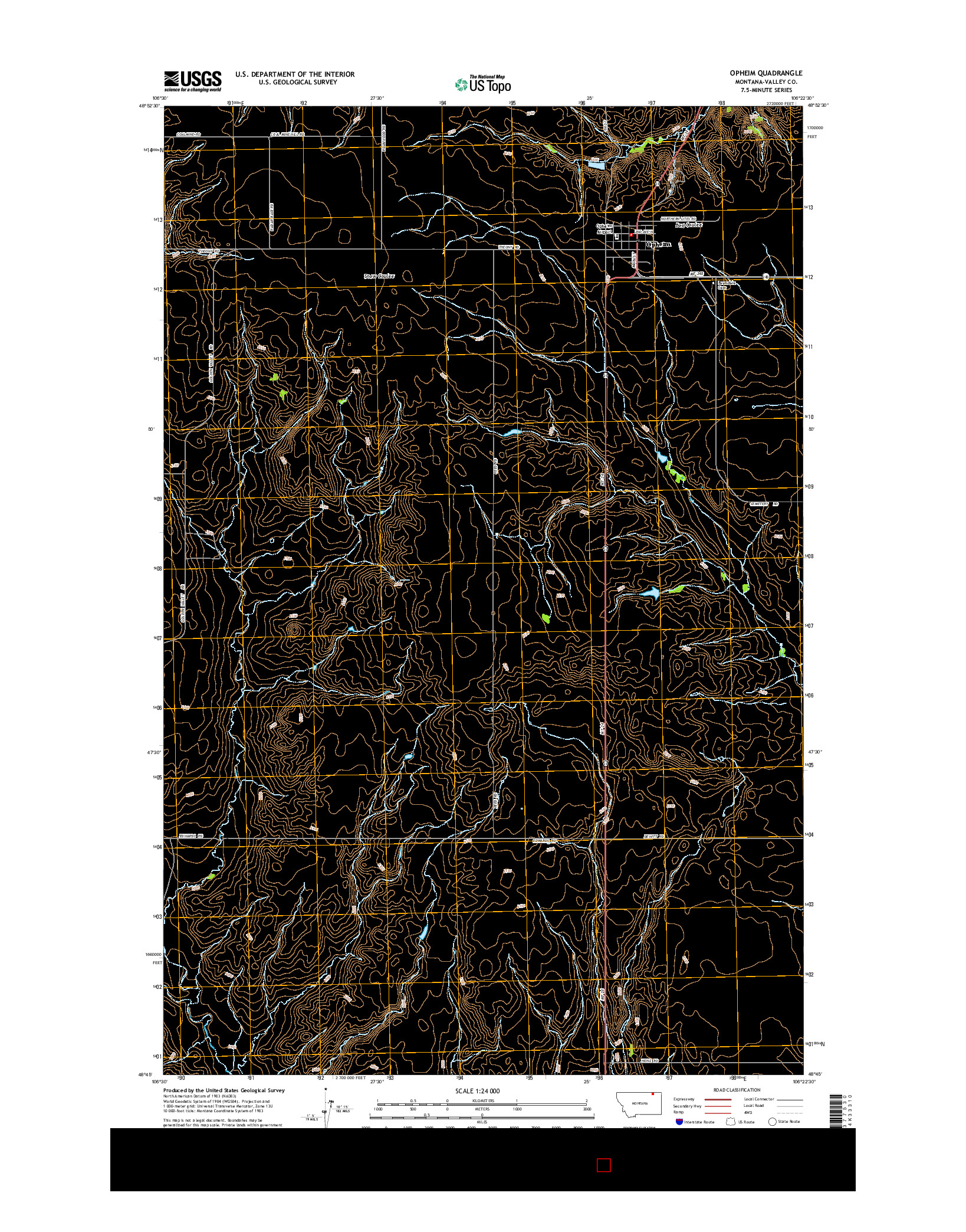 USGS US TOPO 7.5-MINUTE MAP FOR OPHEIM, MT 2014