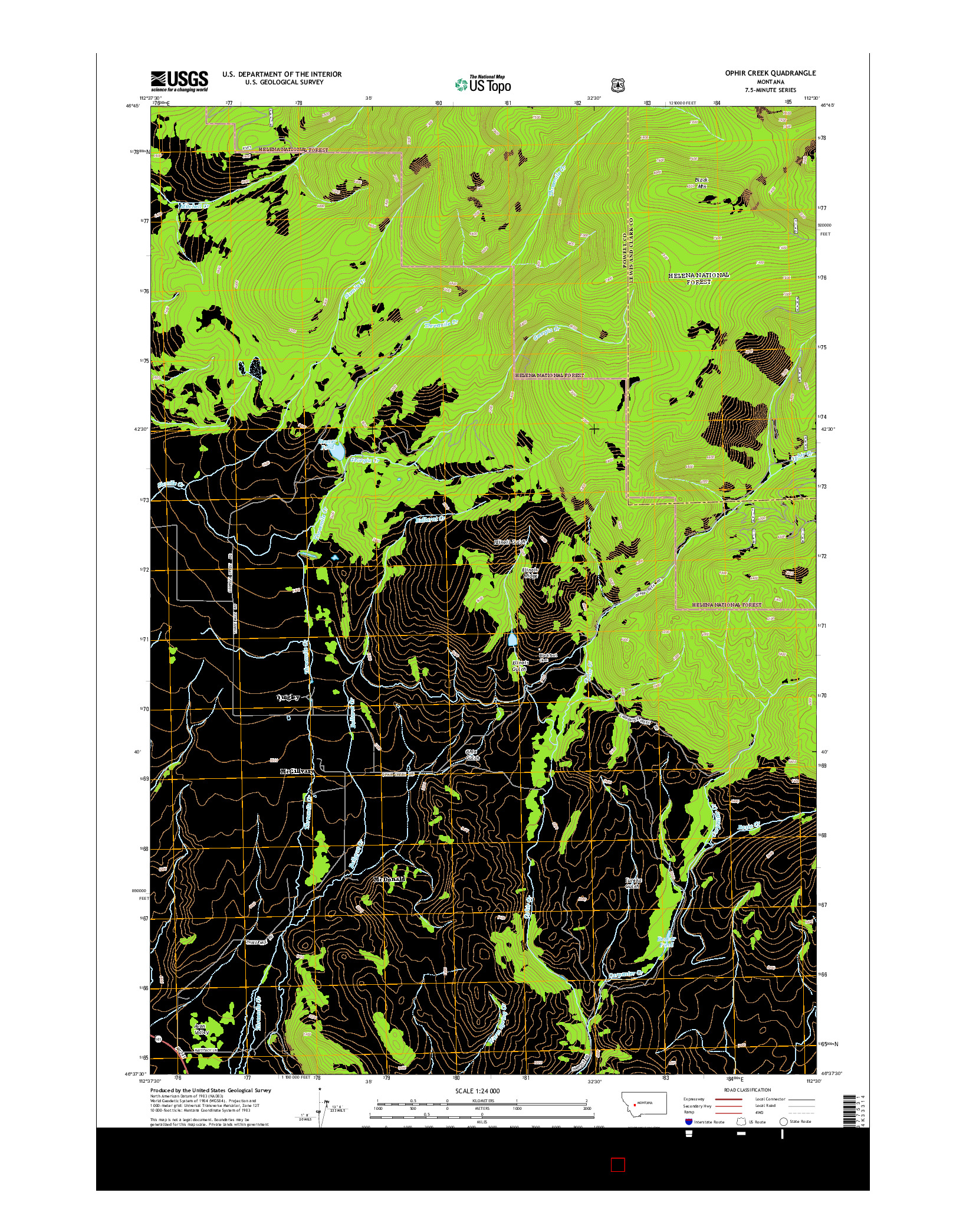 USGS US TOPO 7.5-MINUTE MAP FOR OPHIR CREEK, MT 2014