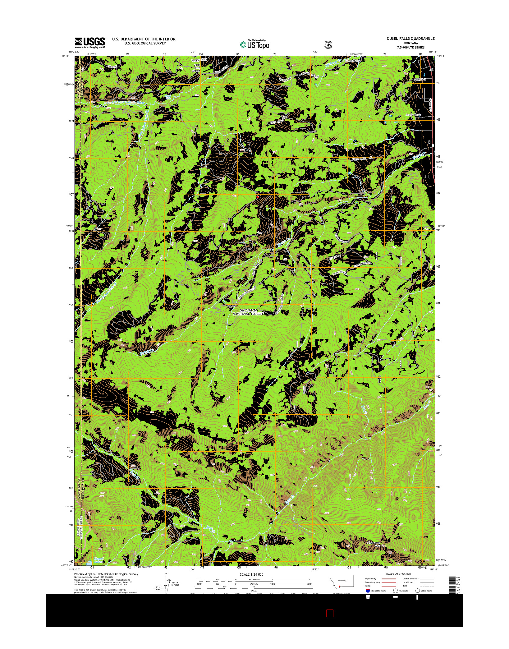 USGS US TOPO 7.5-MINUTE MAP FOR OUSEL FALLS, MT 2014