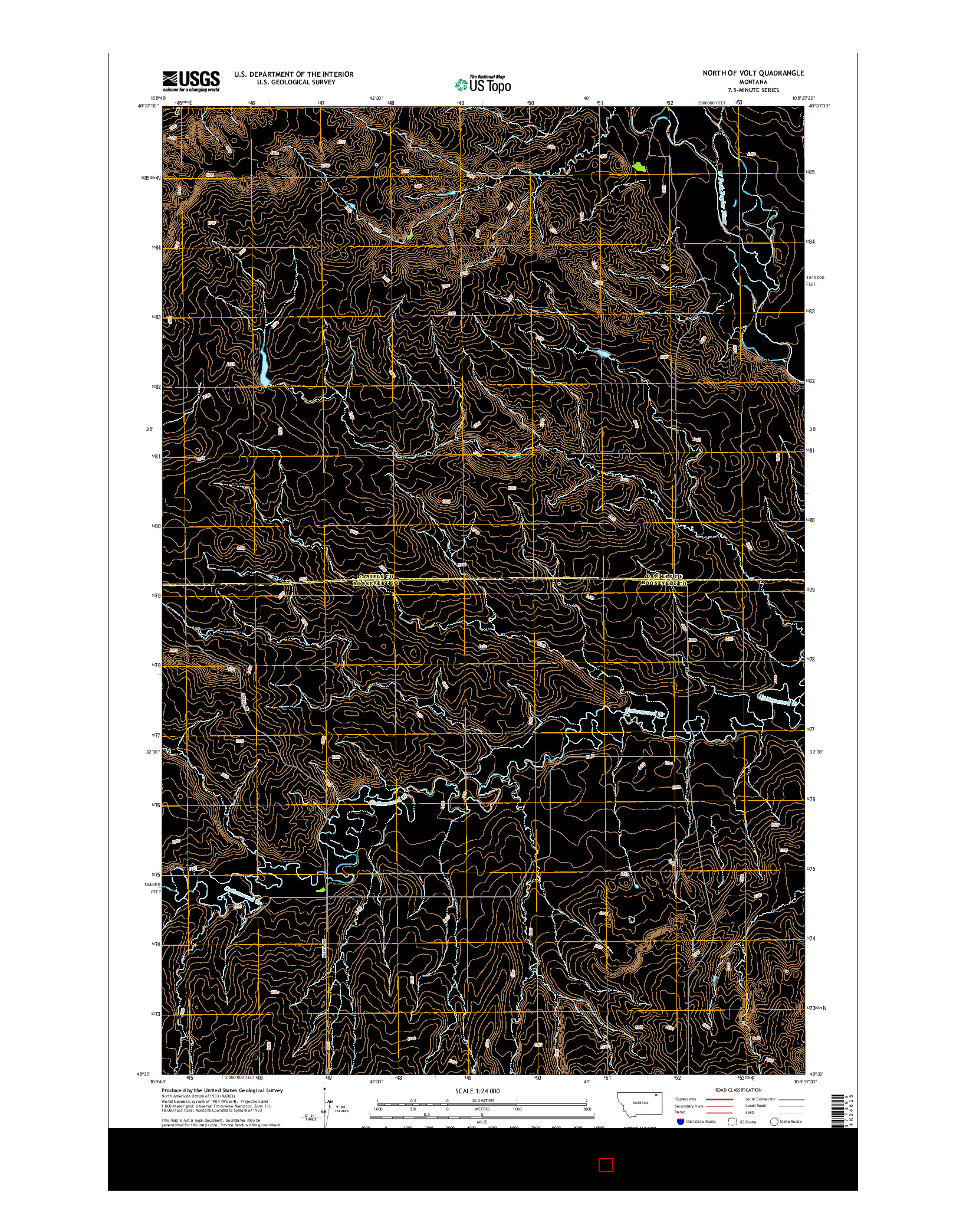 USGS US TOPO 7.5-MINUTE MAP FOR NORTH OF VOLT, MT 2014