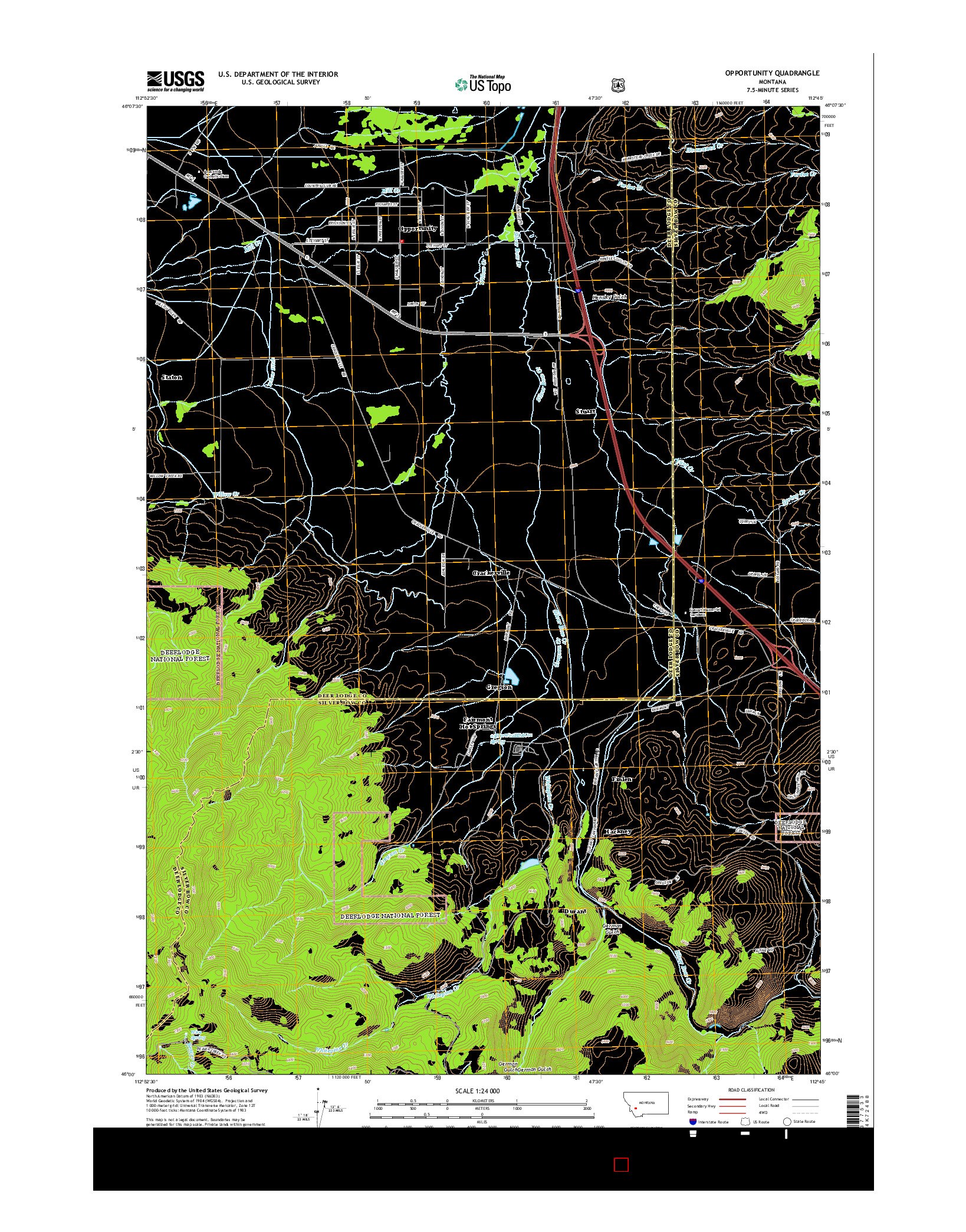 USGS US TOPO 7.5-MINUTE MAP FOR OPPORTUNITY, MT 2014