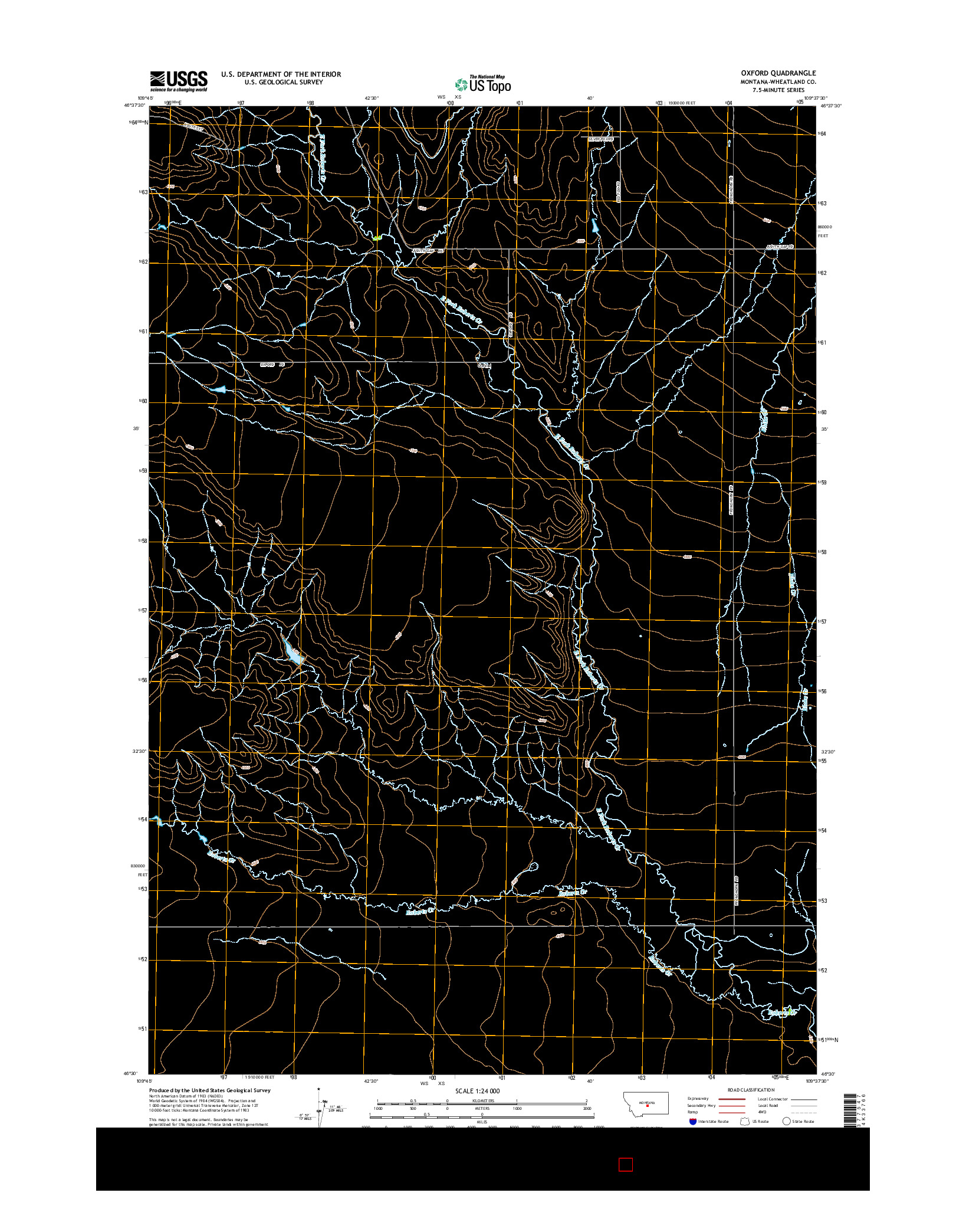 USGS US TOPO 7.5-MINUTE MAP FOR OXFORD, MT 2014