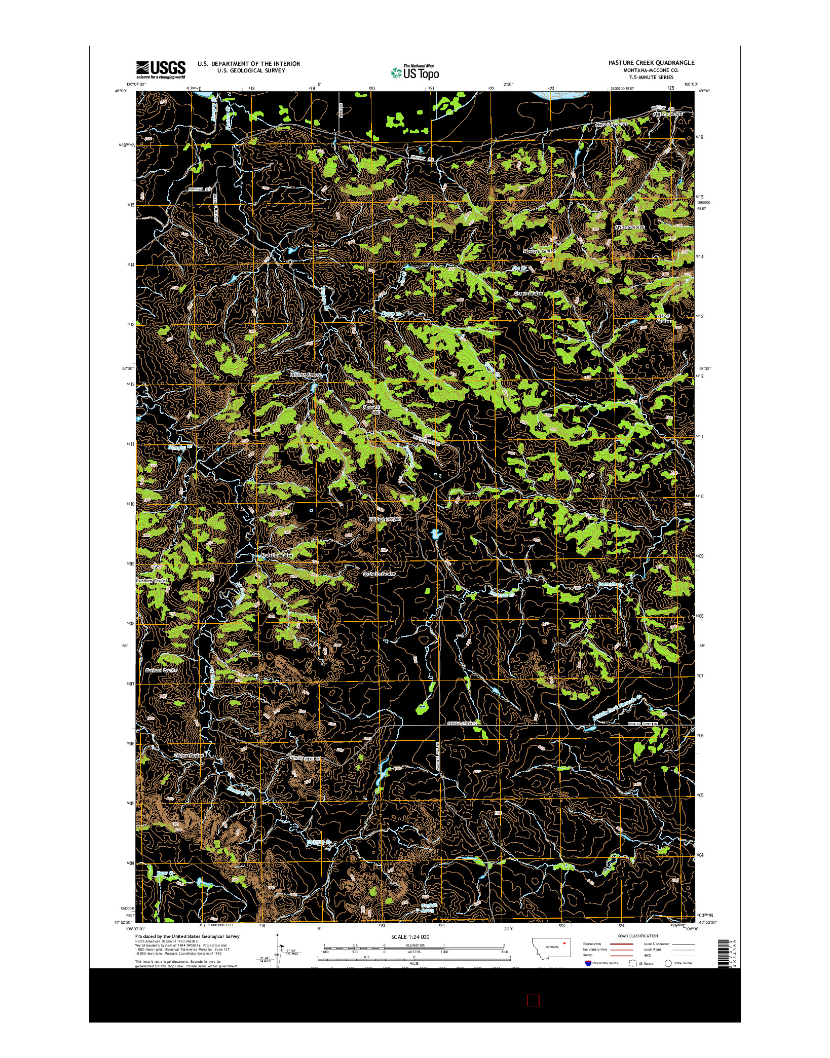 USGS US TOPO 7.5-MINUTE MAP FOR PASTURE CREEK, MT 2014