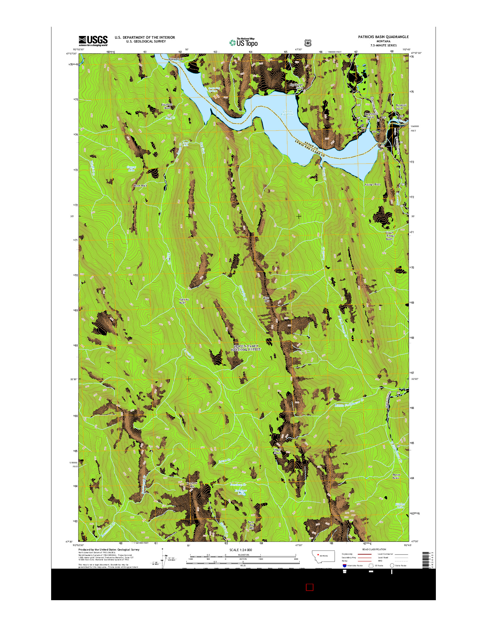 USGS US TOPO 7.5-MINUTE MAP FOR PATRICKS BASIN, MT 2014