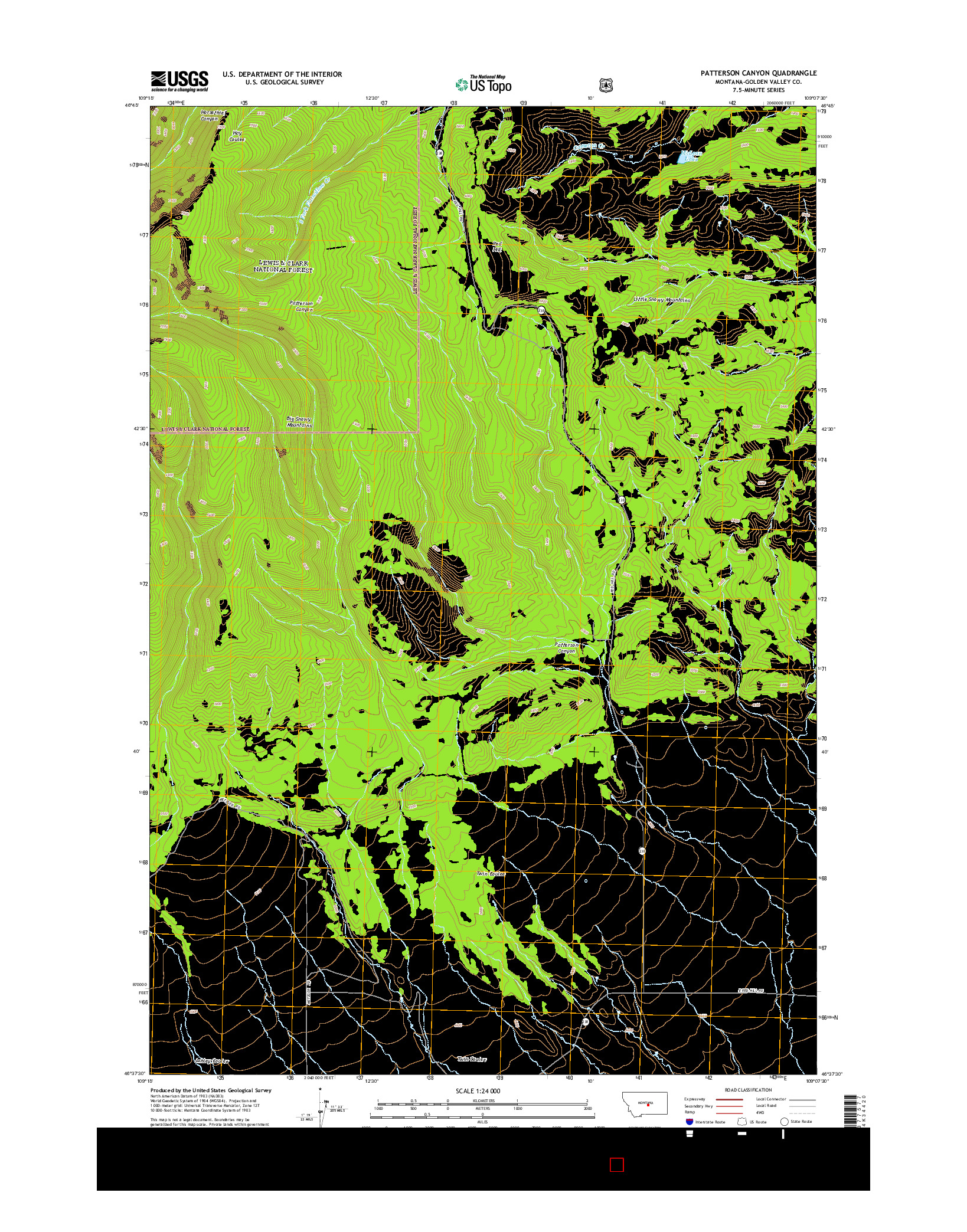 USGS US TOPO 7.5-MINUTE MAP FOR PATTERSON CANYON, MT 2014
