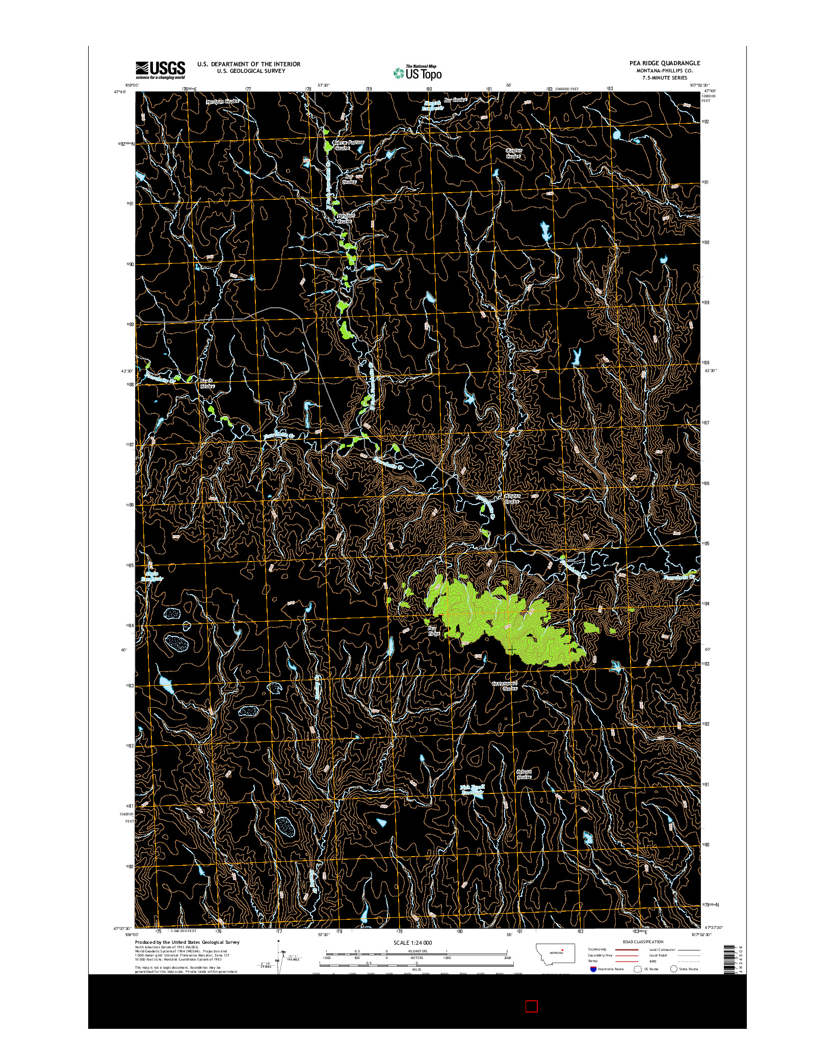 USGS US TOPO 7.5-MINUTE MAP FOR PEA RIDGE, MT 2014