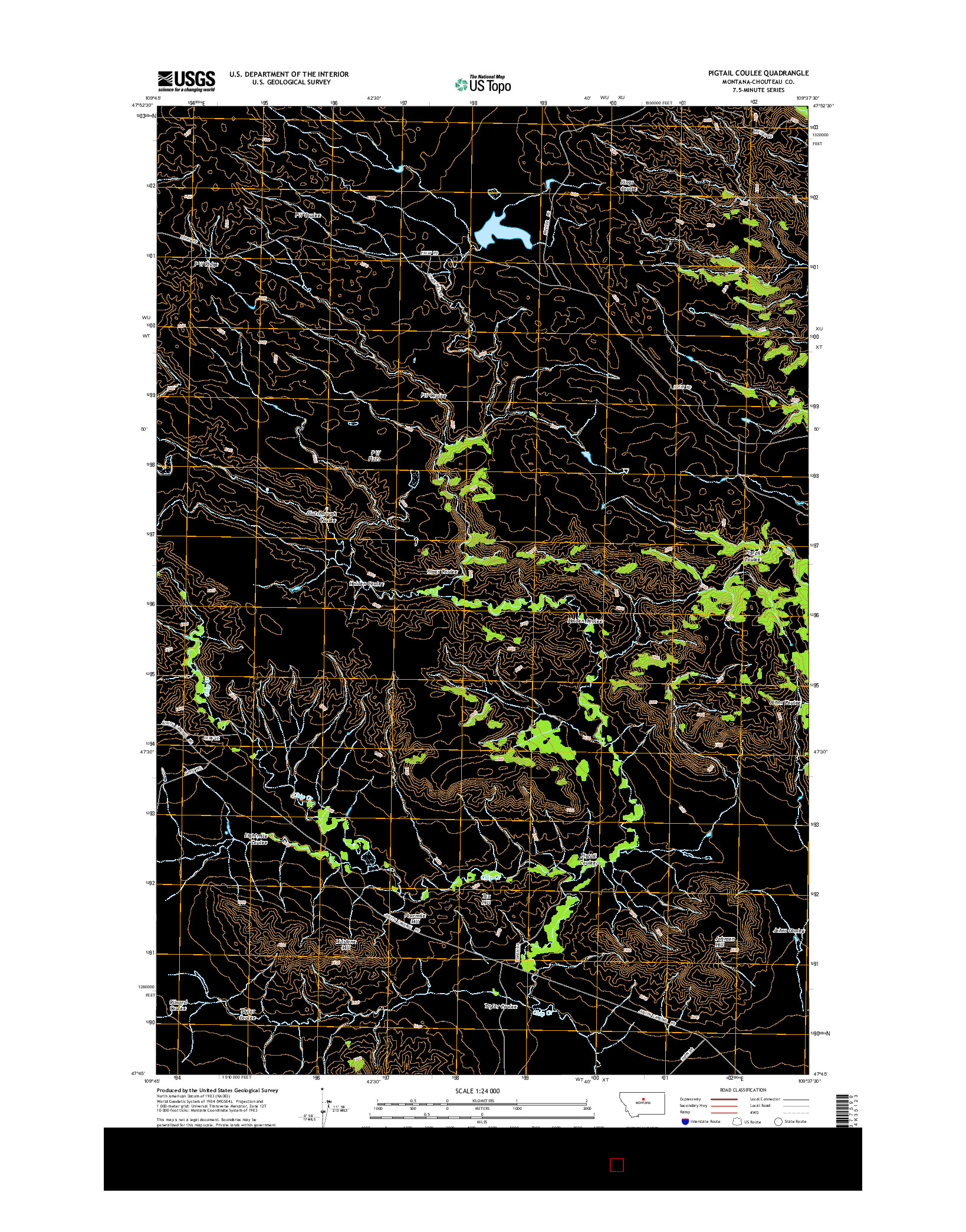 USGS US TOPO 7.5-MINUTE MAP FOR PIGTAIL COULEE, MT 2014