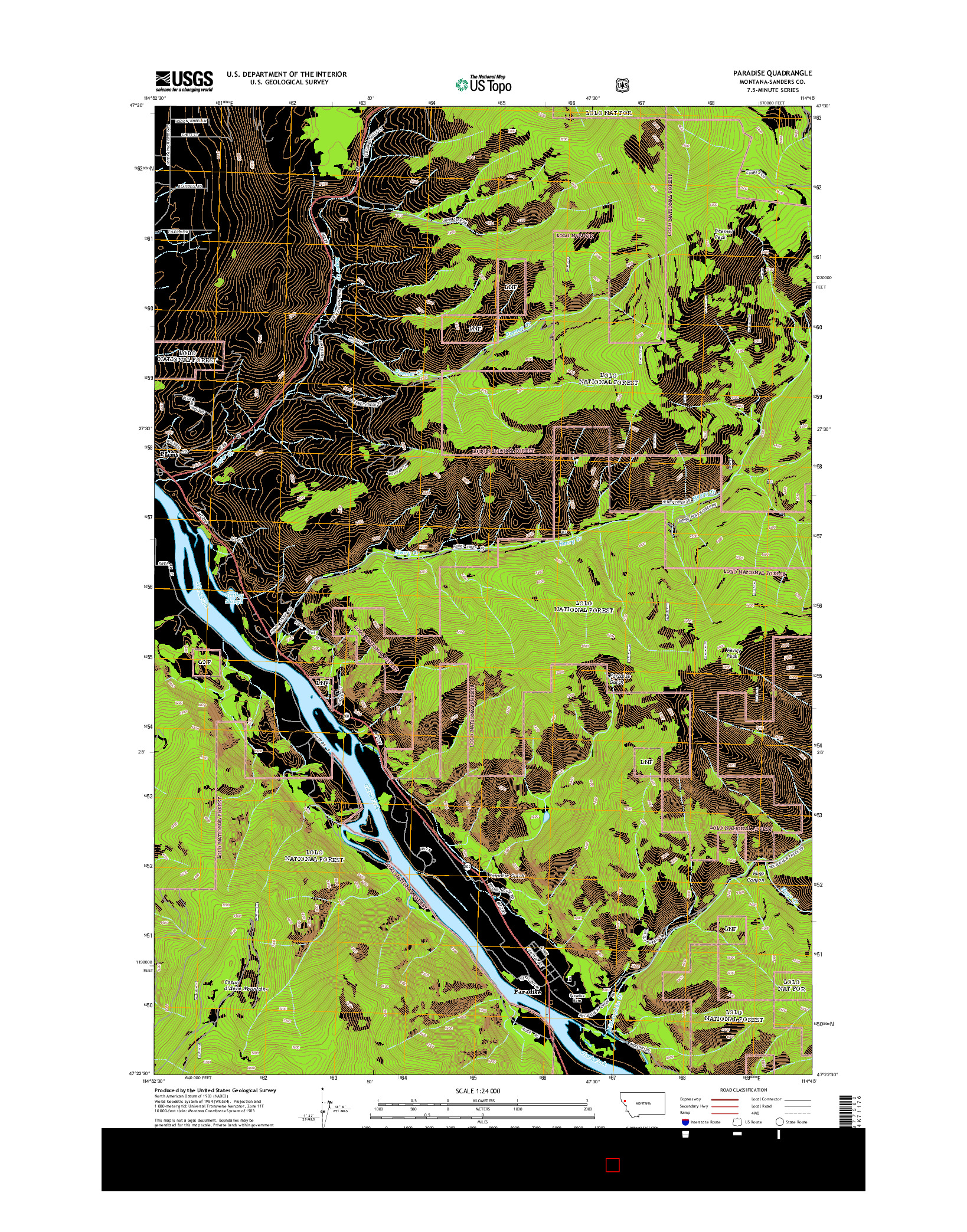 USGS US TOPO 7.5-MINUTE MAP FOR PARADISE, MT 2014