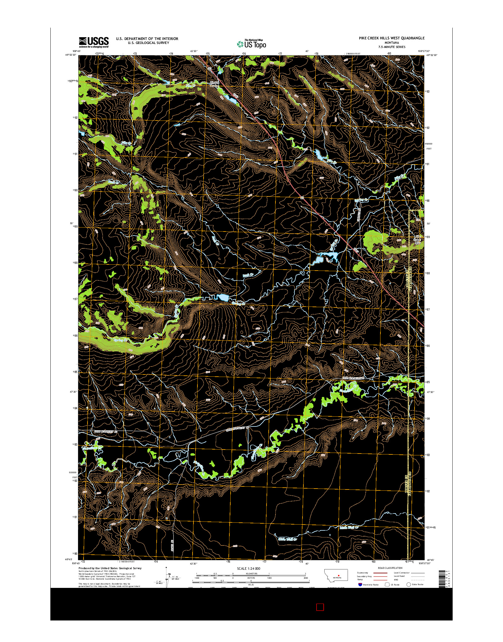 USGS US TOPO 7.5-MINUTE MAP FOR PIKE CREEK HILLS WEST, MT 2014