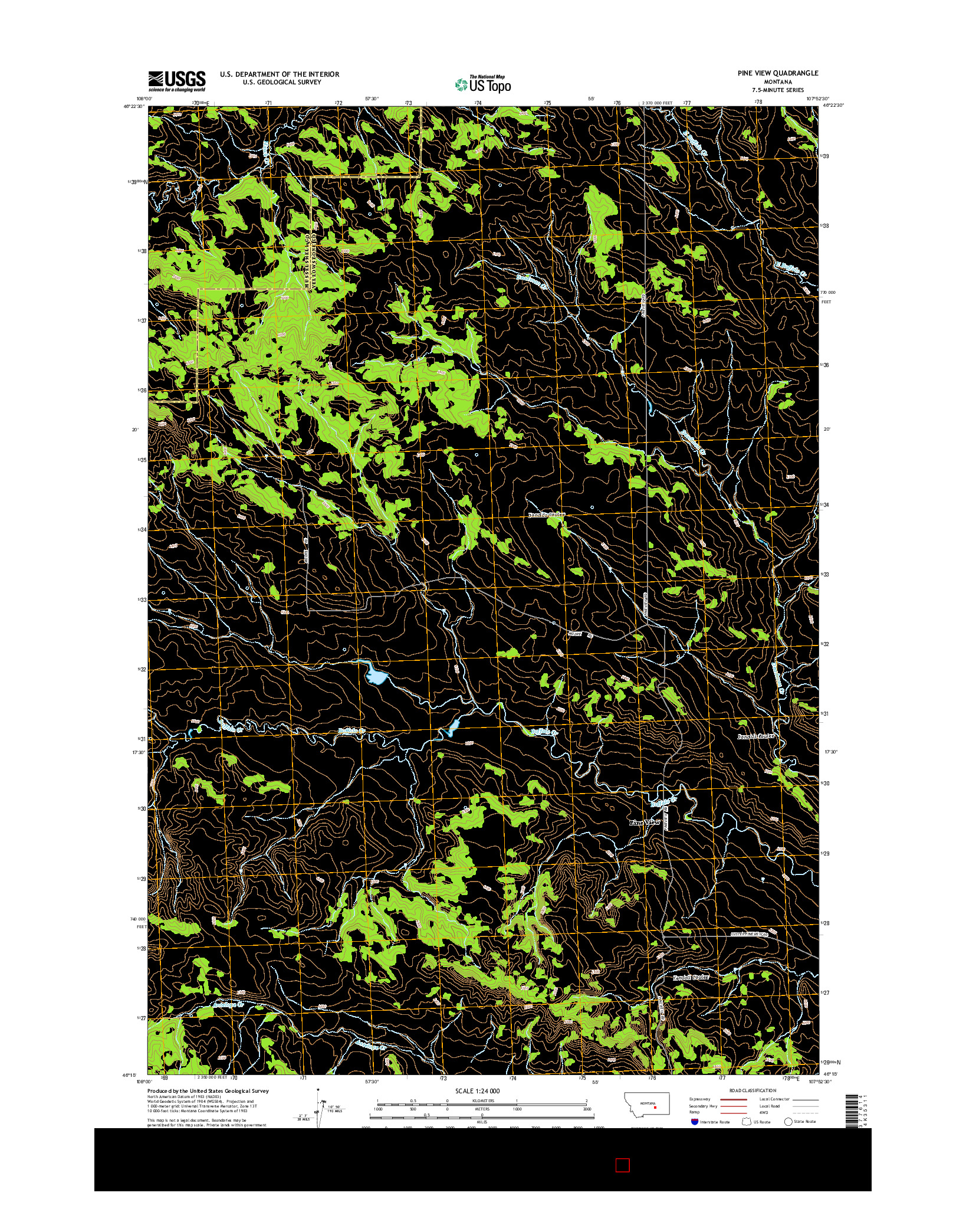 USGS US TOPO 7.5-MINUTE MAP FOR PINE VIEW, MT 2014