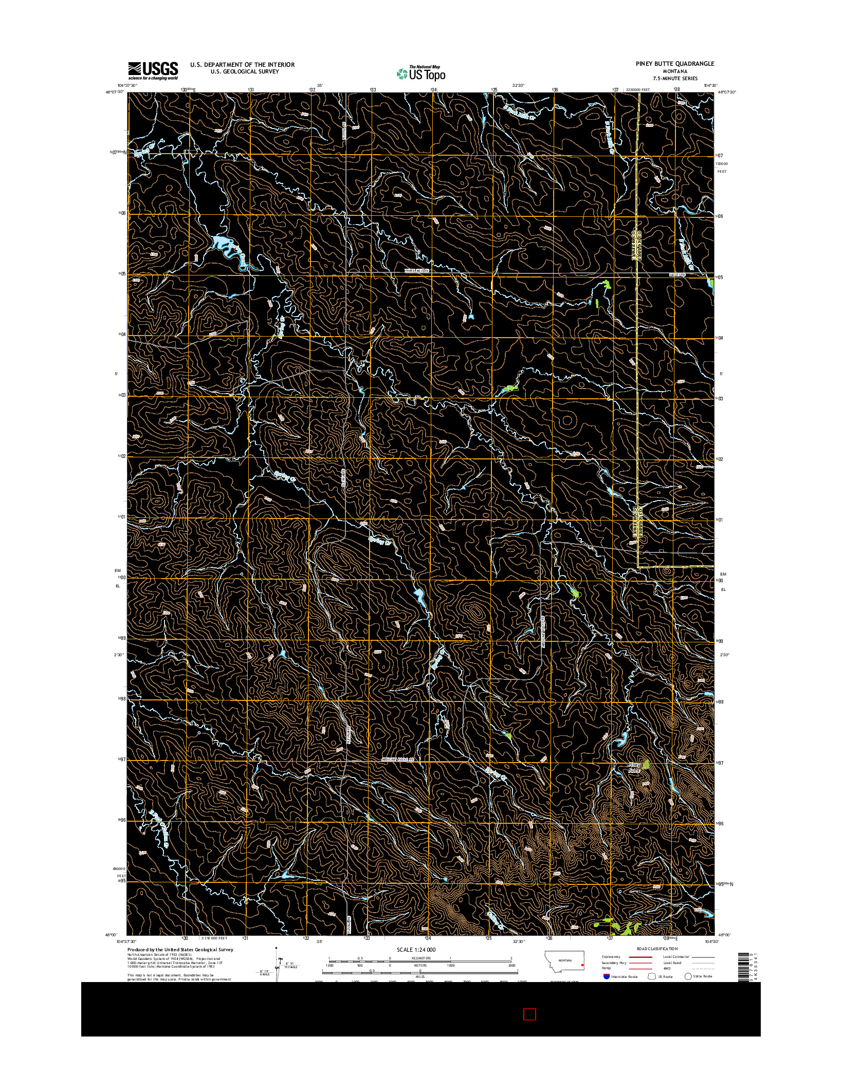 USGS US TOPO 7.5-MINUTE MAP FOR PINEY BUTTE, MT 2014