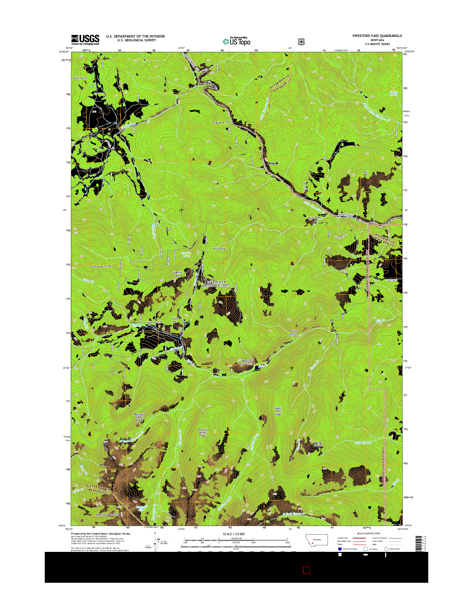 USGS US TOPO 7.5-MINUTE MAP FOR PIPESTONE PASS, MT 2014